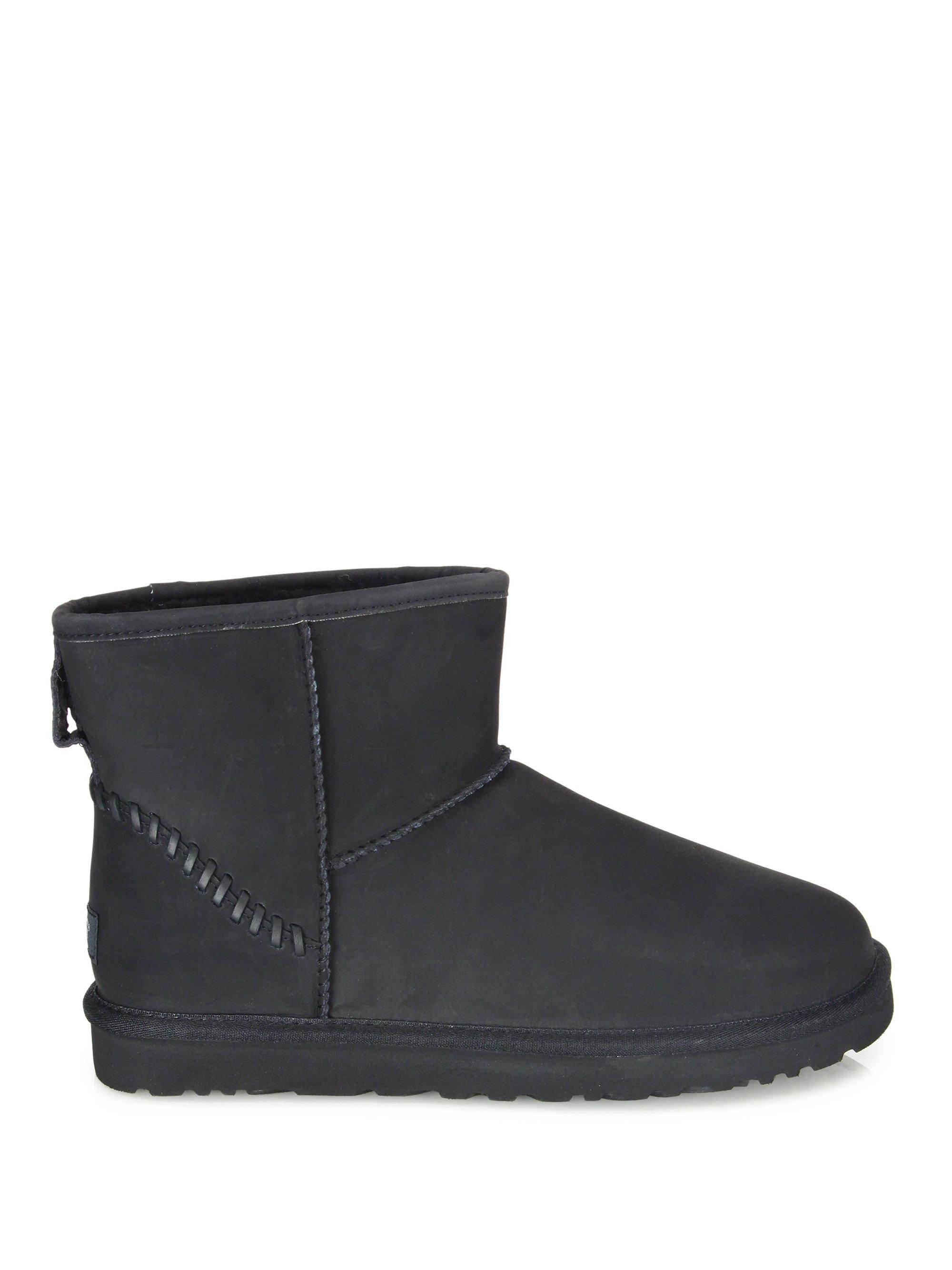 ugg classic mini deco leather boots in black lyst