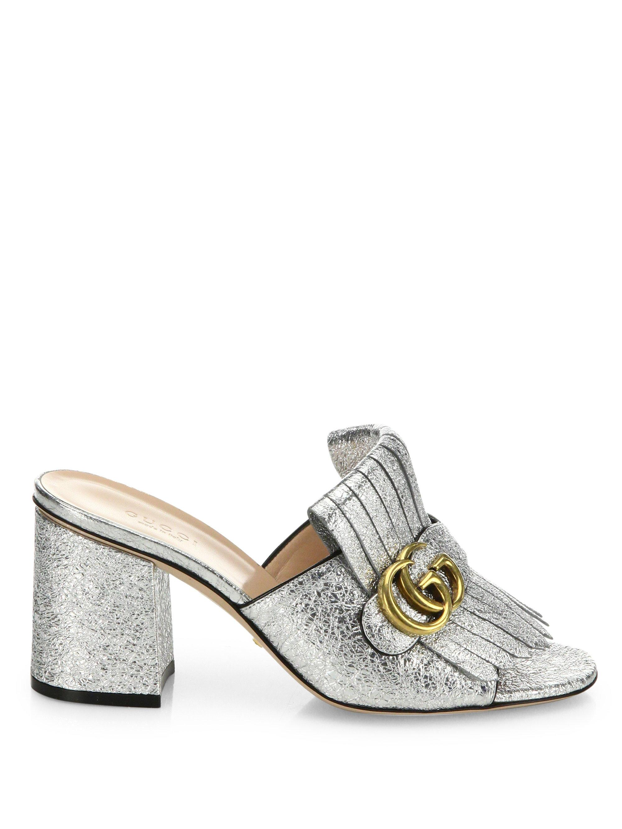 bf439667101bec Lyst - Gucci Marmont Gg Kiltie Metallic Leather Block Heel Mules in ...