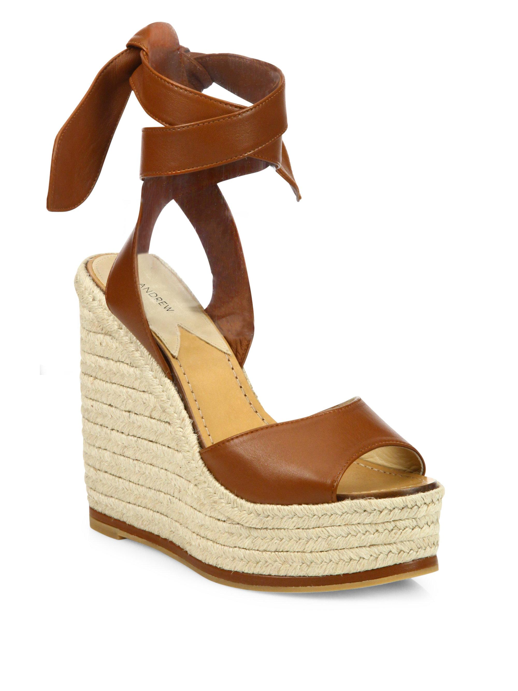 4fd8a3280ad Lyst - Paul Andrew Lulea Leather Espadrille Wedge Sandals in Brown