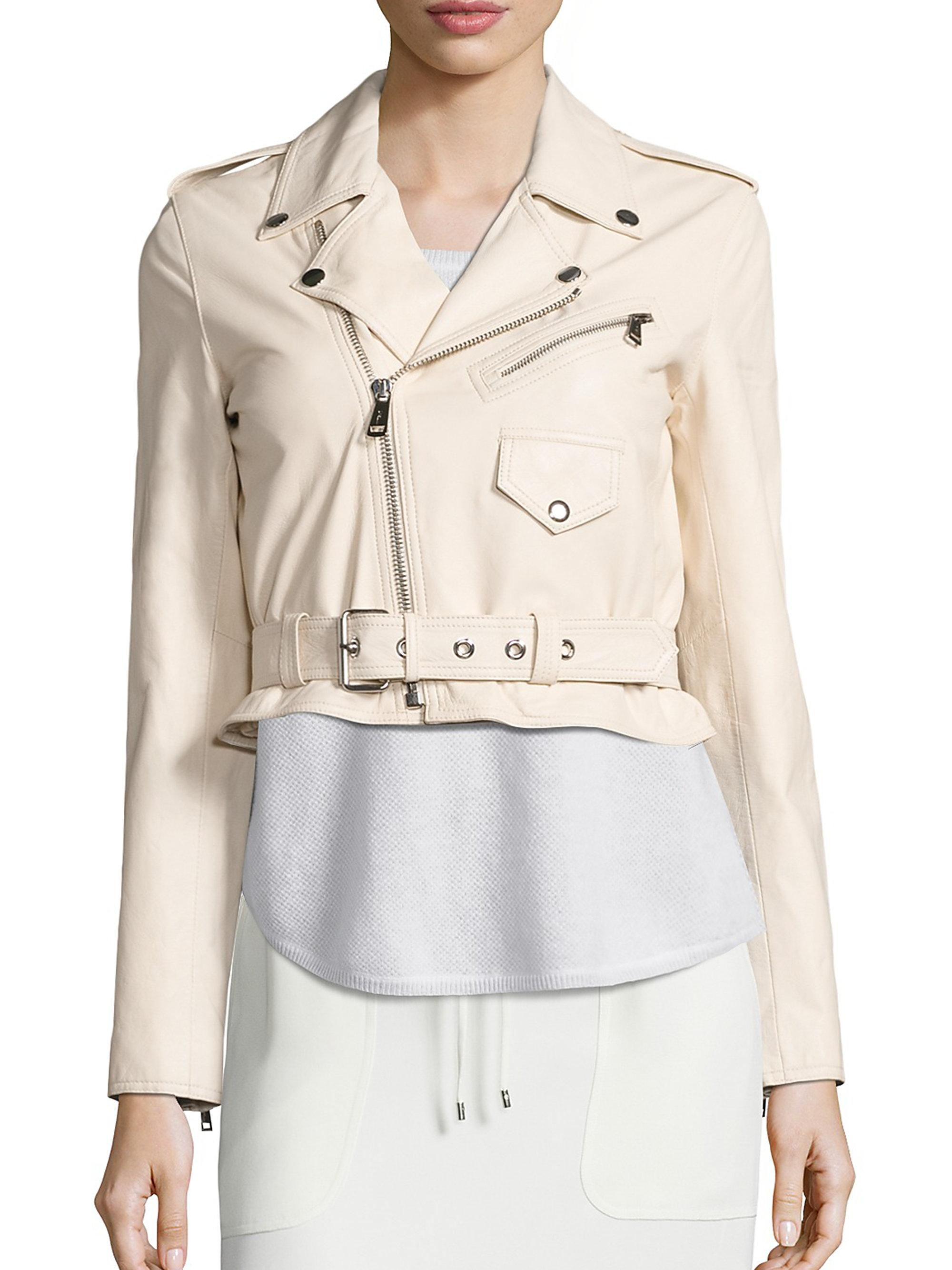 Polo ralph lauren Cropped Leather Moto Jacket in Natural | Lyst