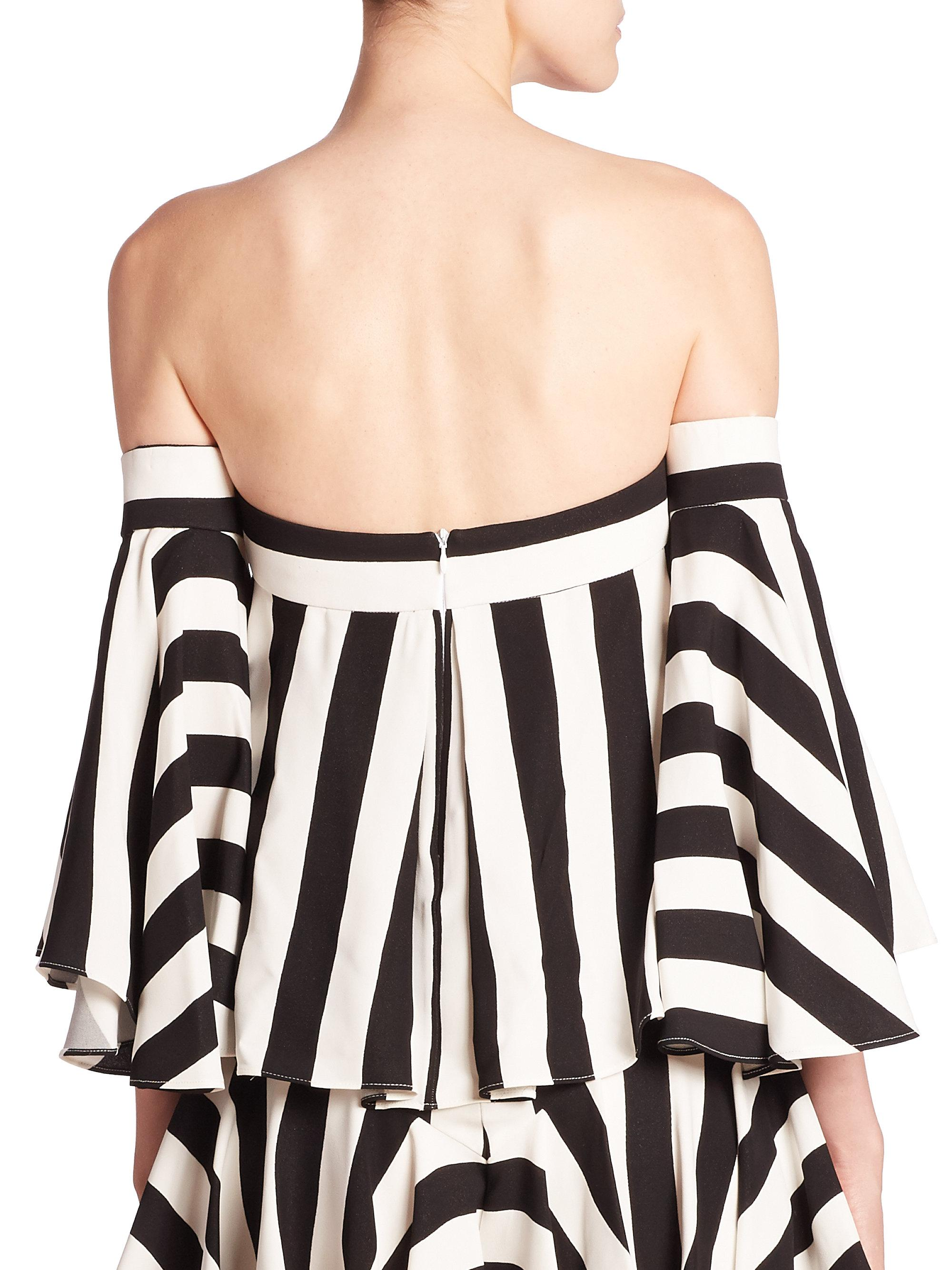 18a5e45880718d Lyst - MILLY Rosa Striped Off-the-shoulder Top in Black