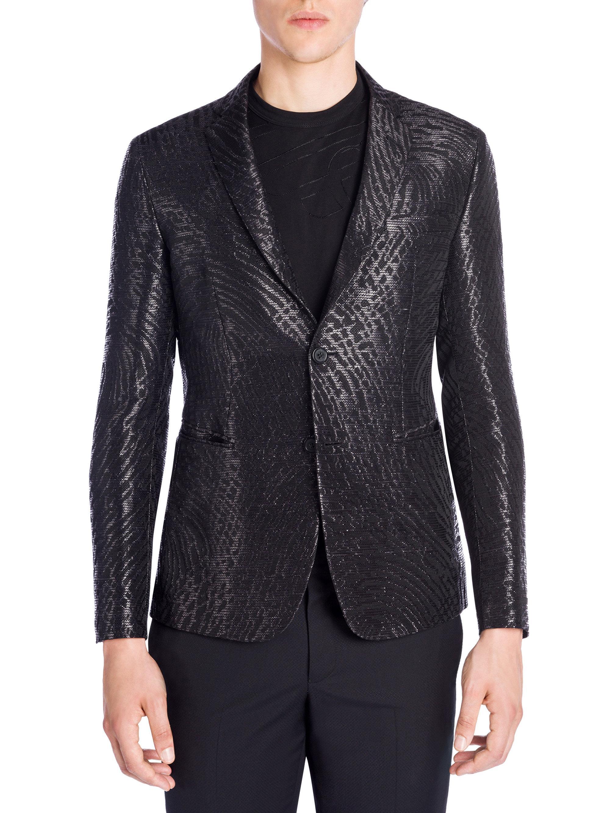 Mens jacket brooch - Emporio Armani Giacca Jacquard Pattern Jacket Lyst