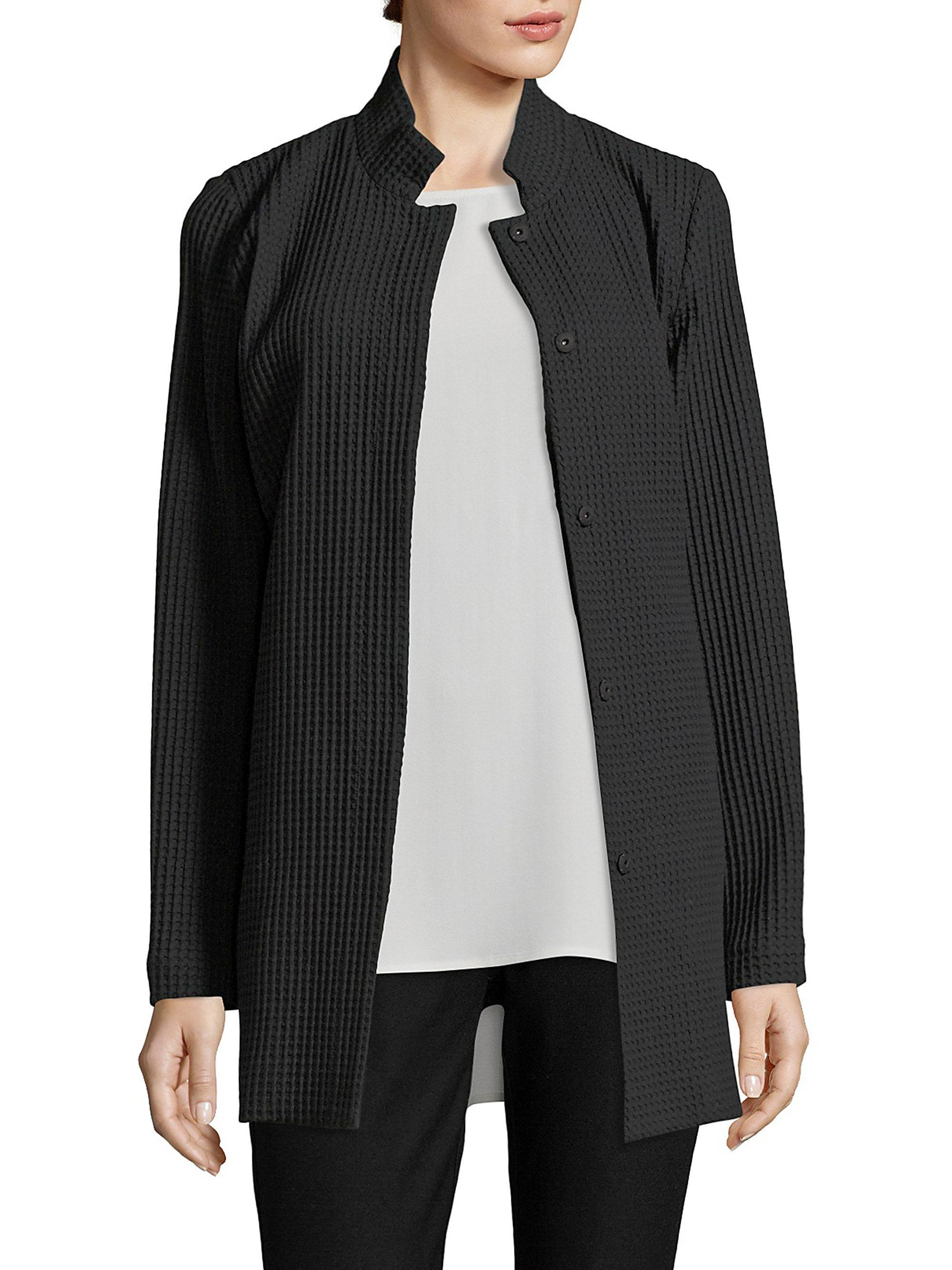 Lyst Eileen Fisher Textured Stand Collar Jacket In Black