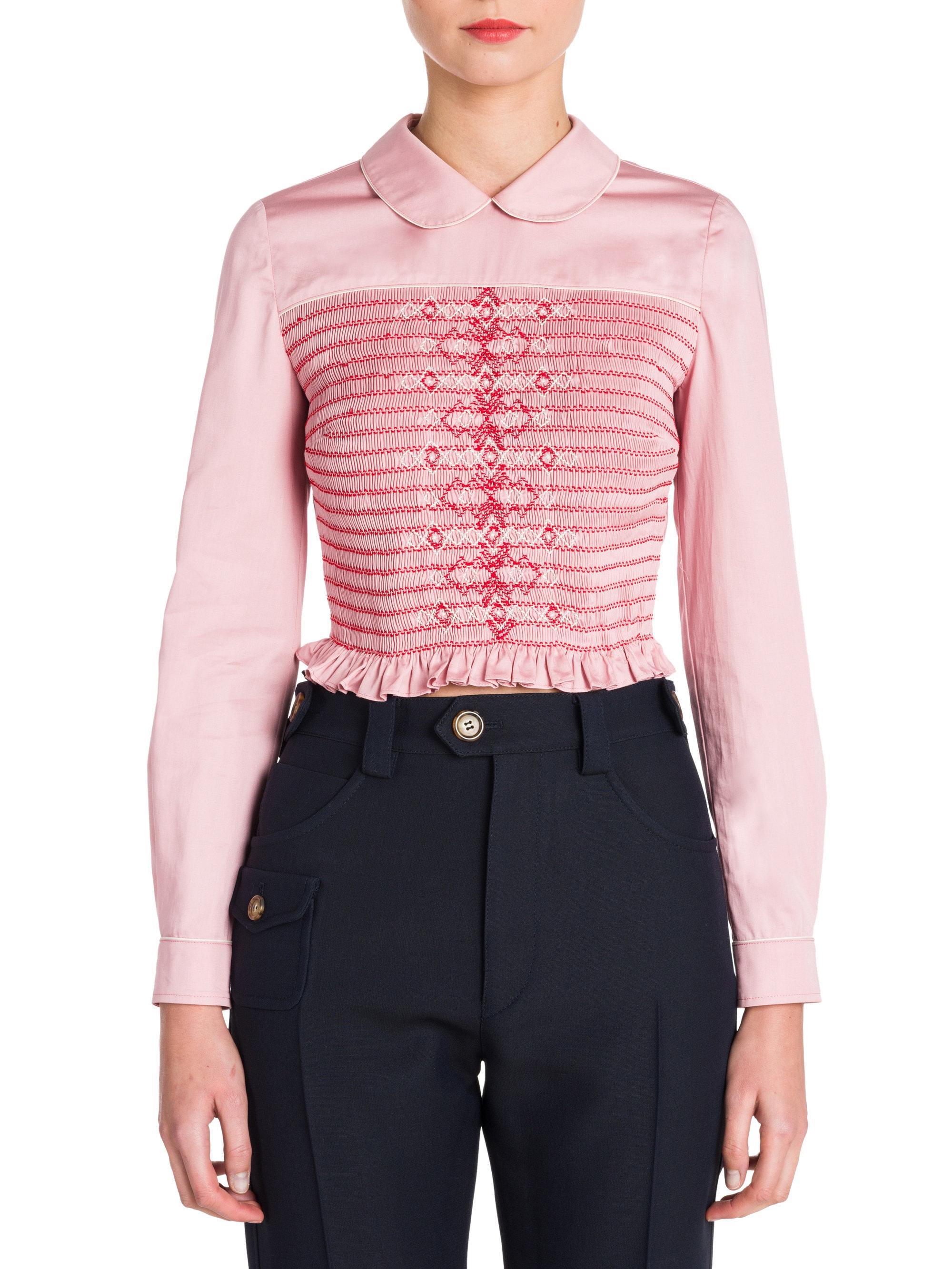 e90d8901b61 Lyst - Miu Miu Long Sleeve Smocked Blouse in Pink