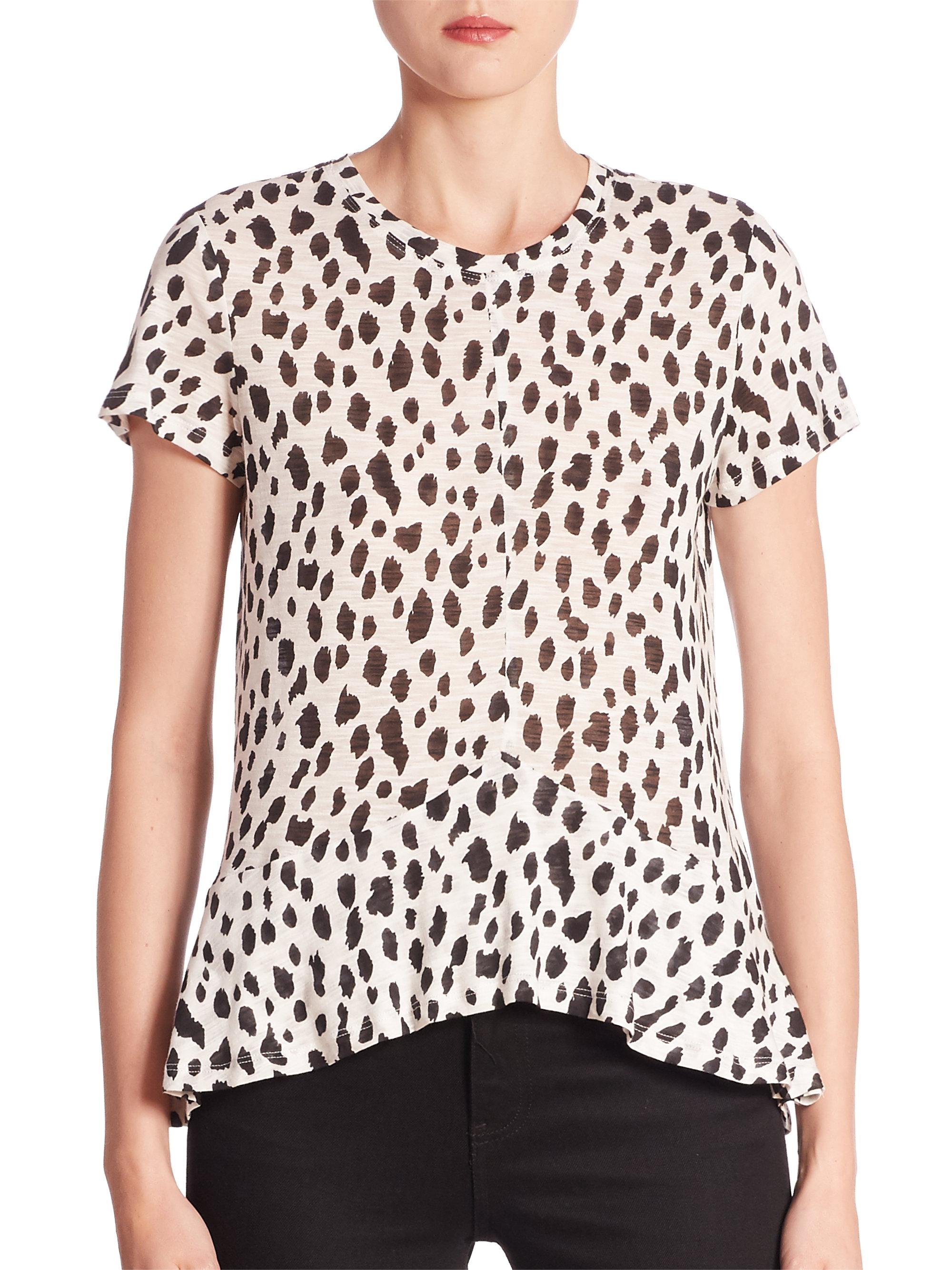 2f74d06f84 Lyst - Proenza Schouler Cheetah-print Cotton Peplum Top in White