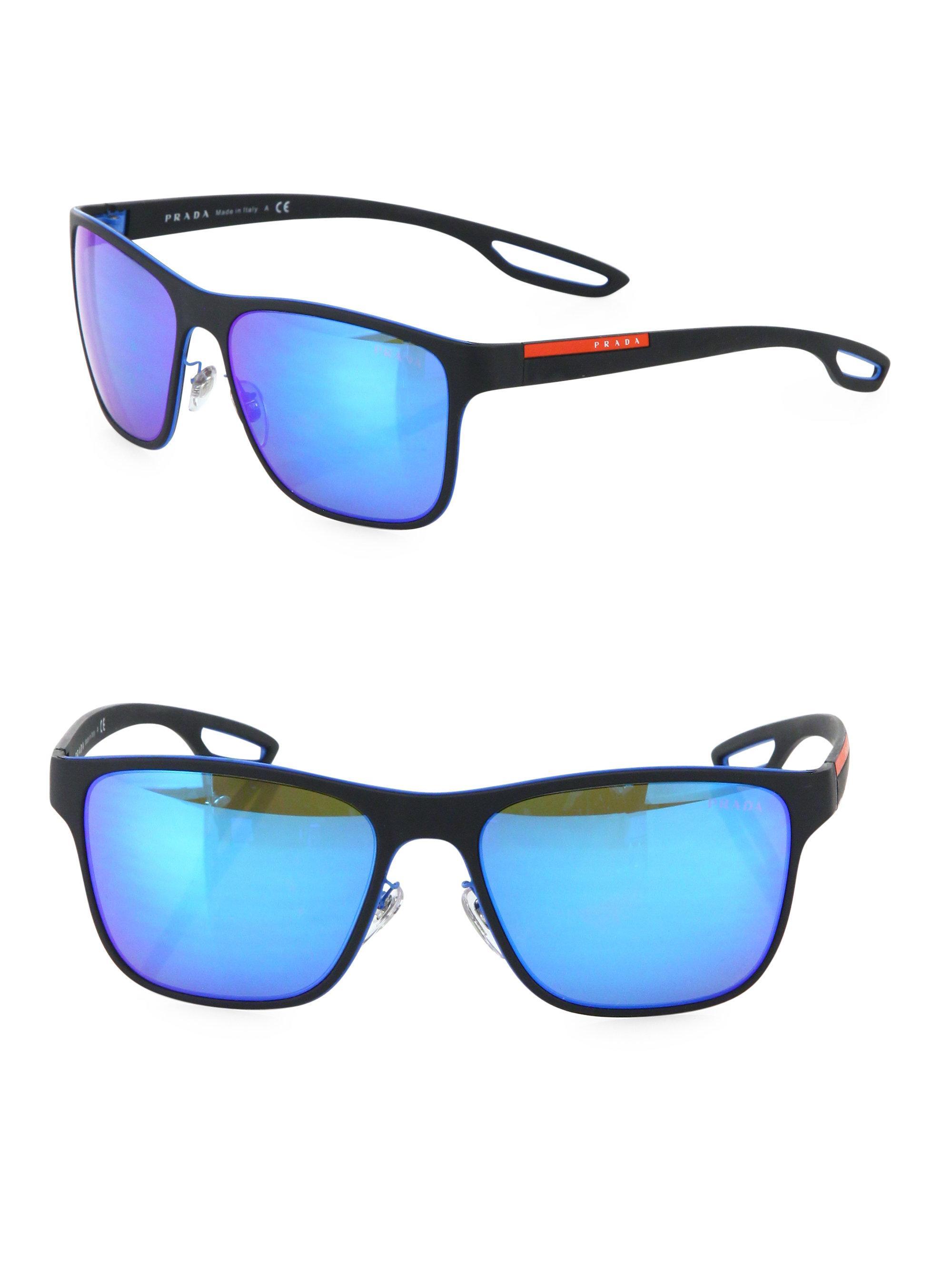 7421b596f095 best lyst prada 56mm injected square sunglasses in blue for men f9b49 1fc49