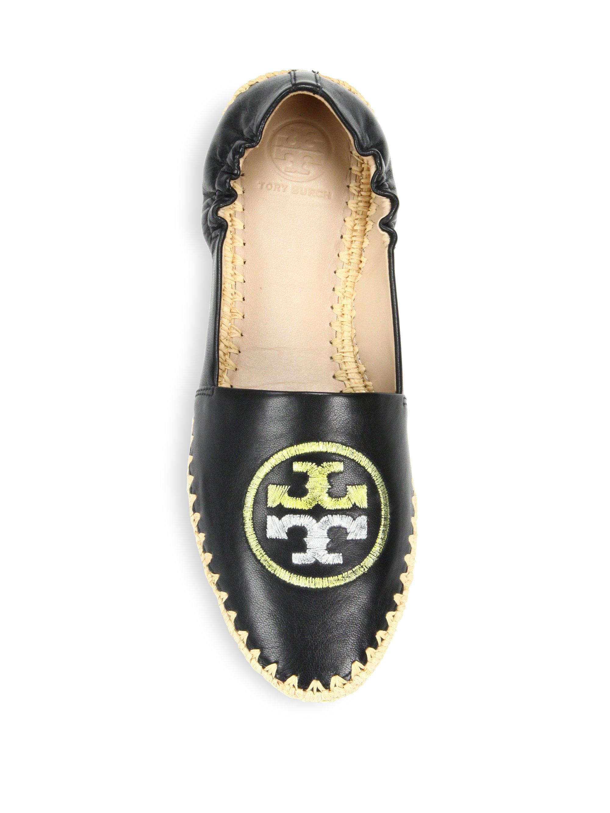 93e7bdd8585 Lyst - Tory Burch Darien Leather Espadrille Loafers in Black