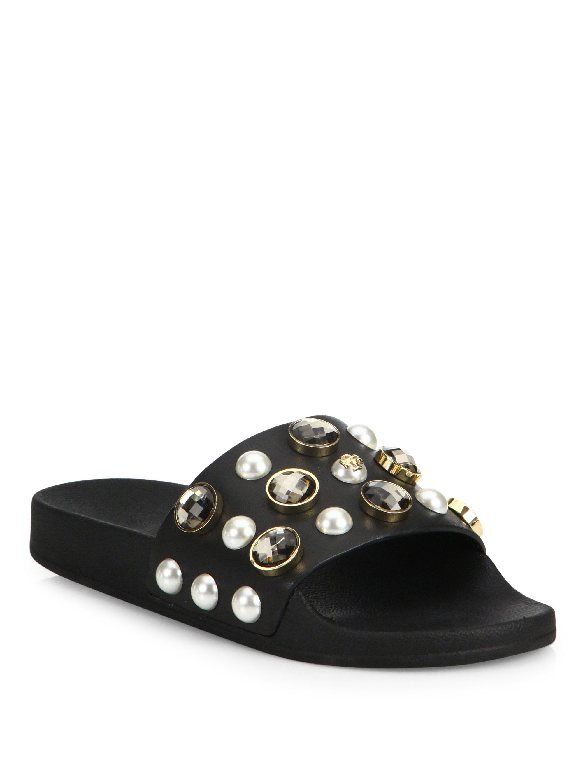 Tory Burch Vail Jeweled Leather Slides In Black Lyst