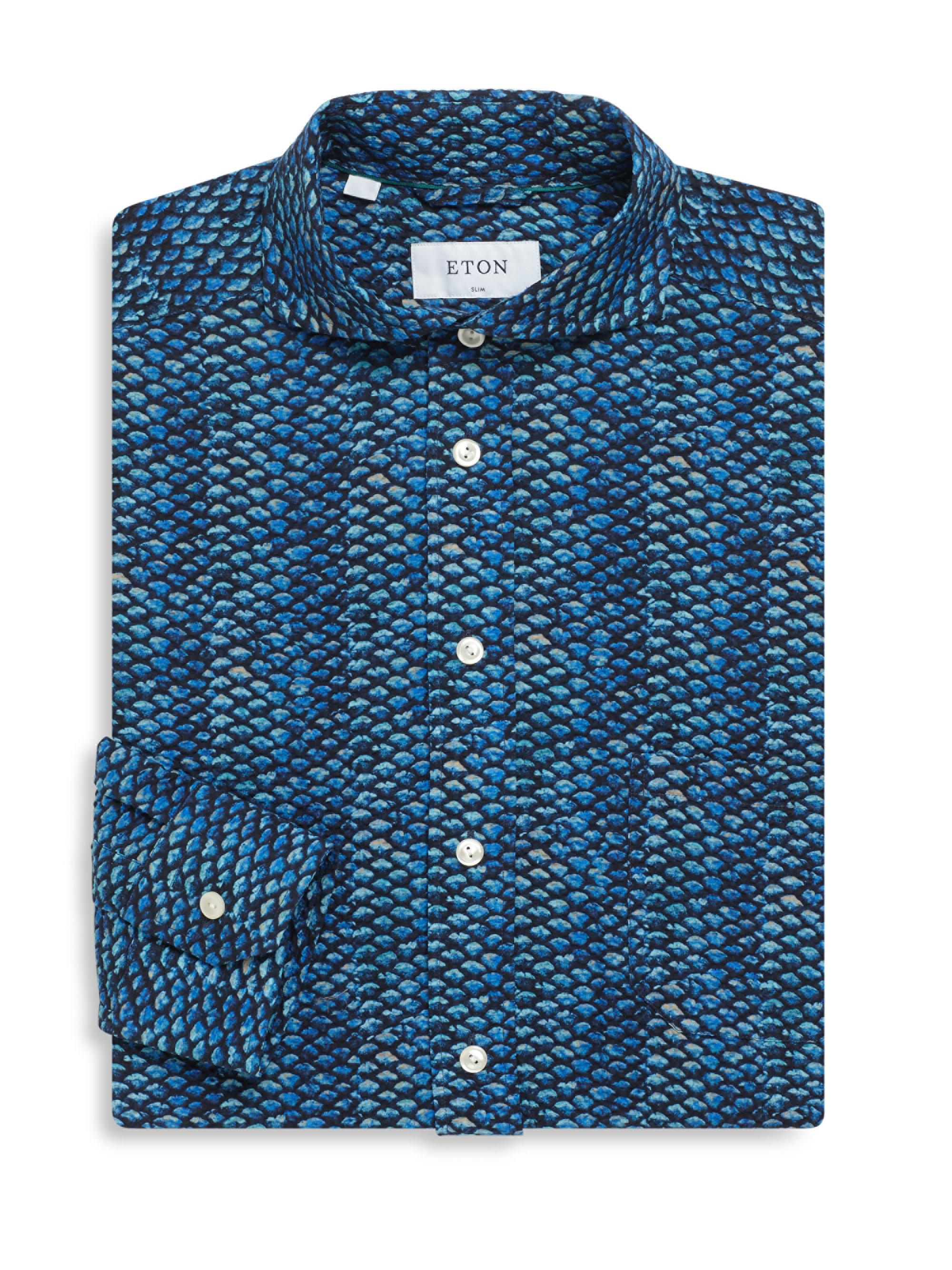 Eton of sweden fish scale regular fit cotton dress shirt for Fish scale shirt