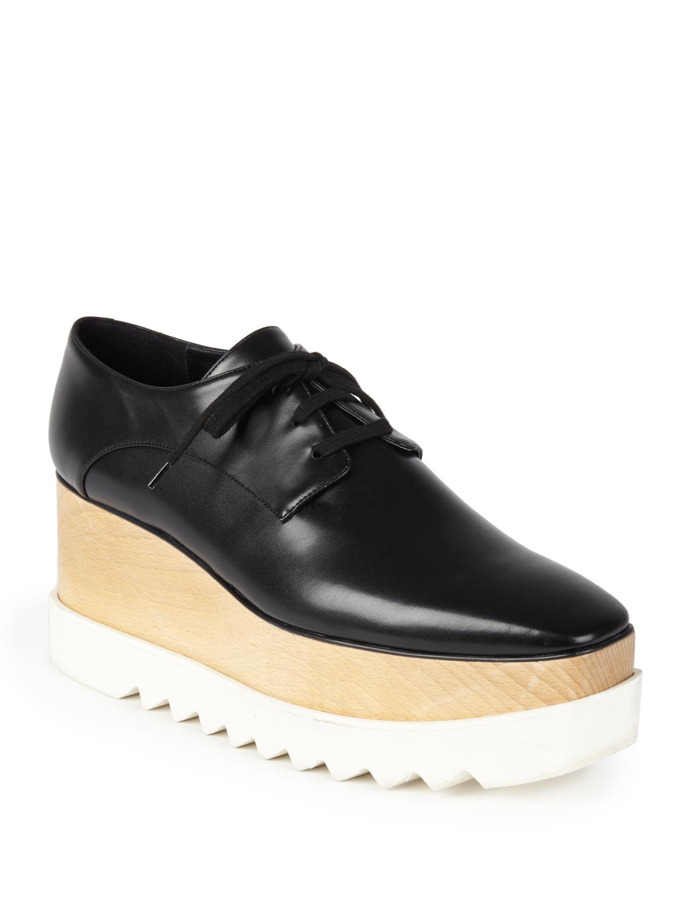 Stella mccartney Faux Leather Platform Oxfords in Black | Lyst