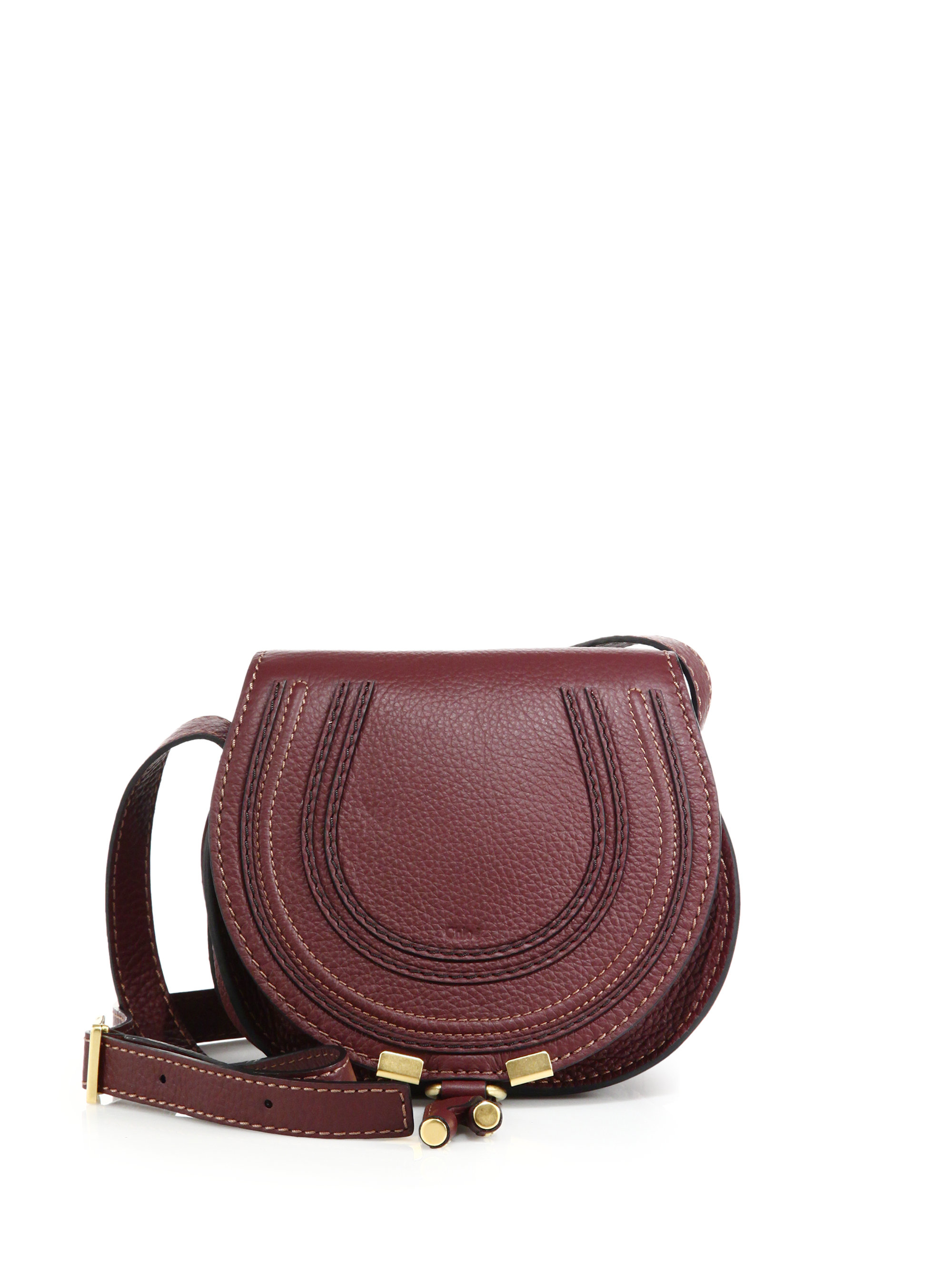 chlo marcie small leather saddle bag in red lyst. Black Bedroom Furniture Sets. Home Design Ideas