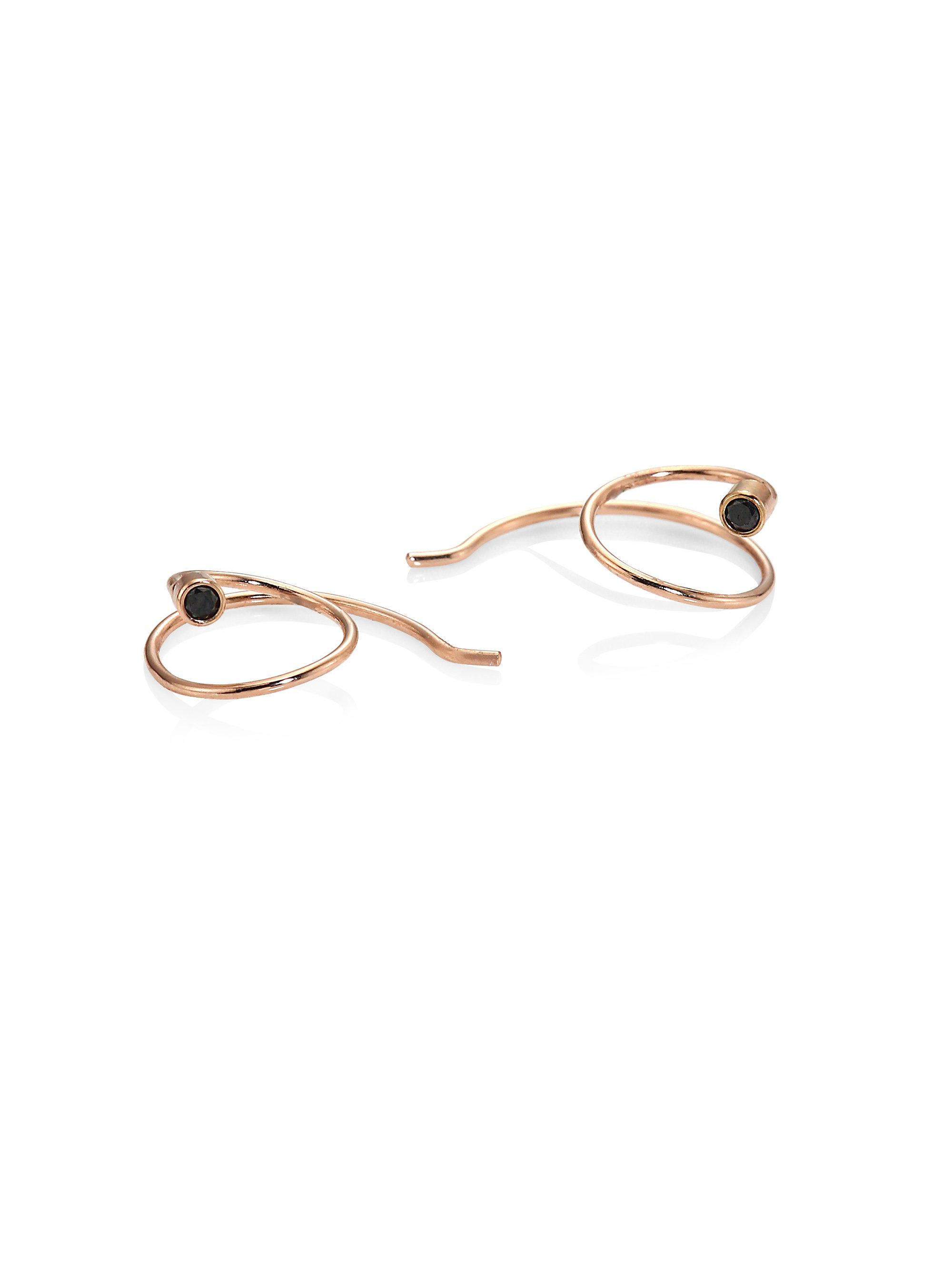Zoe Womens White Diamond & Rose Gold Oval Hoops dvXE67