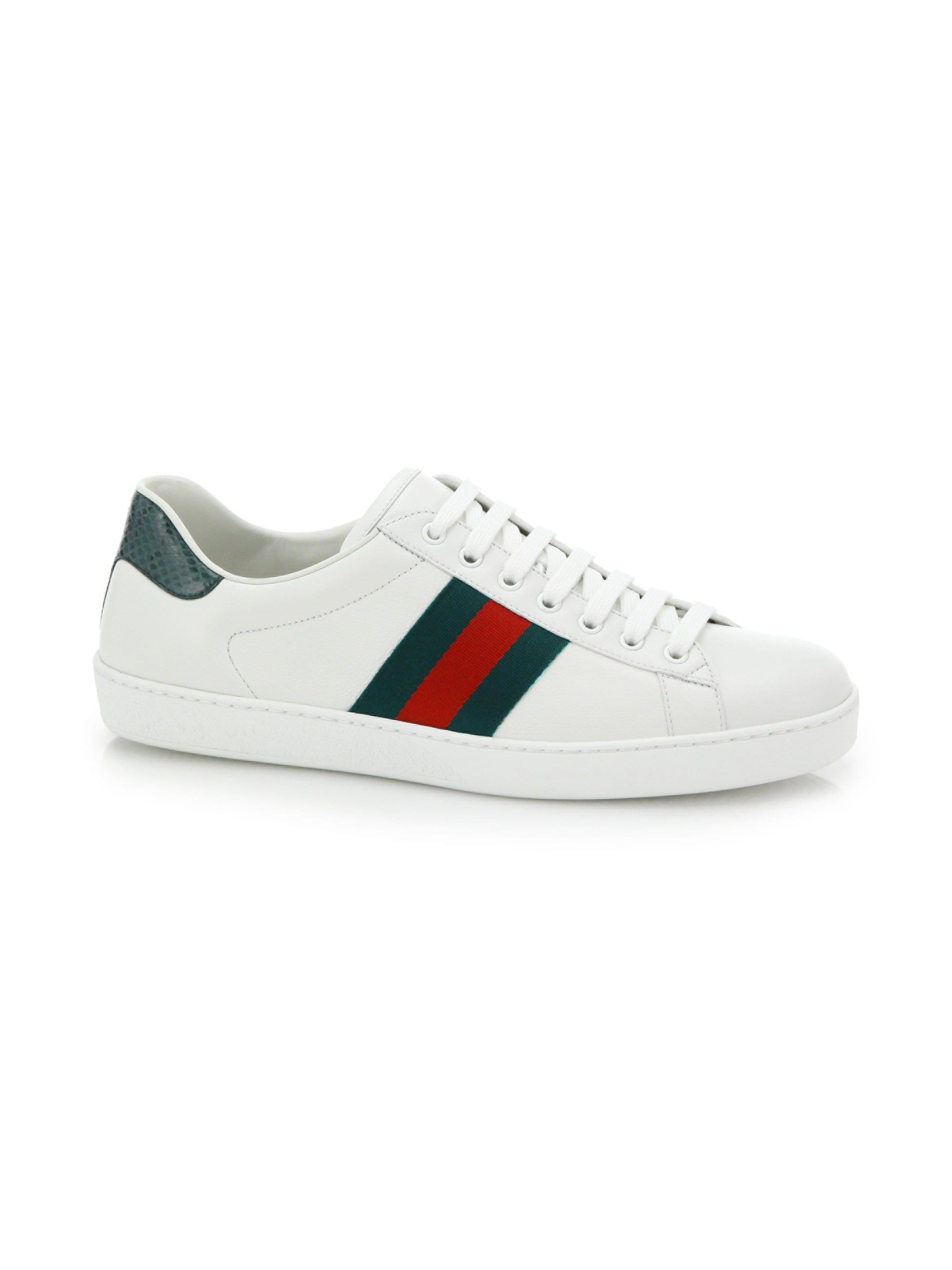 0cd0d1b2e36 Lyst - Gucci Croc-detail Ace Leather Sneakers in White for Men