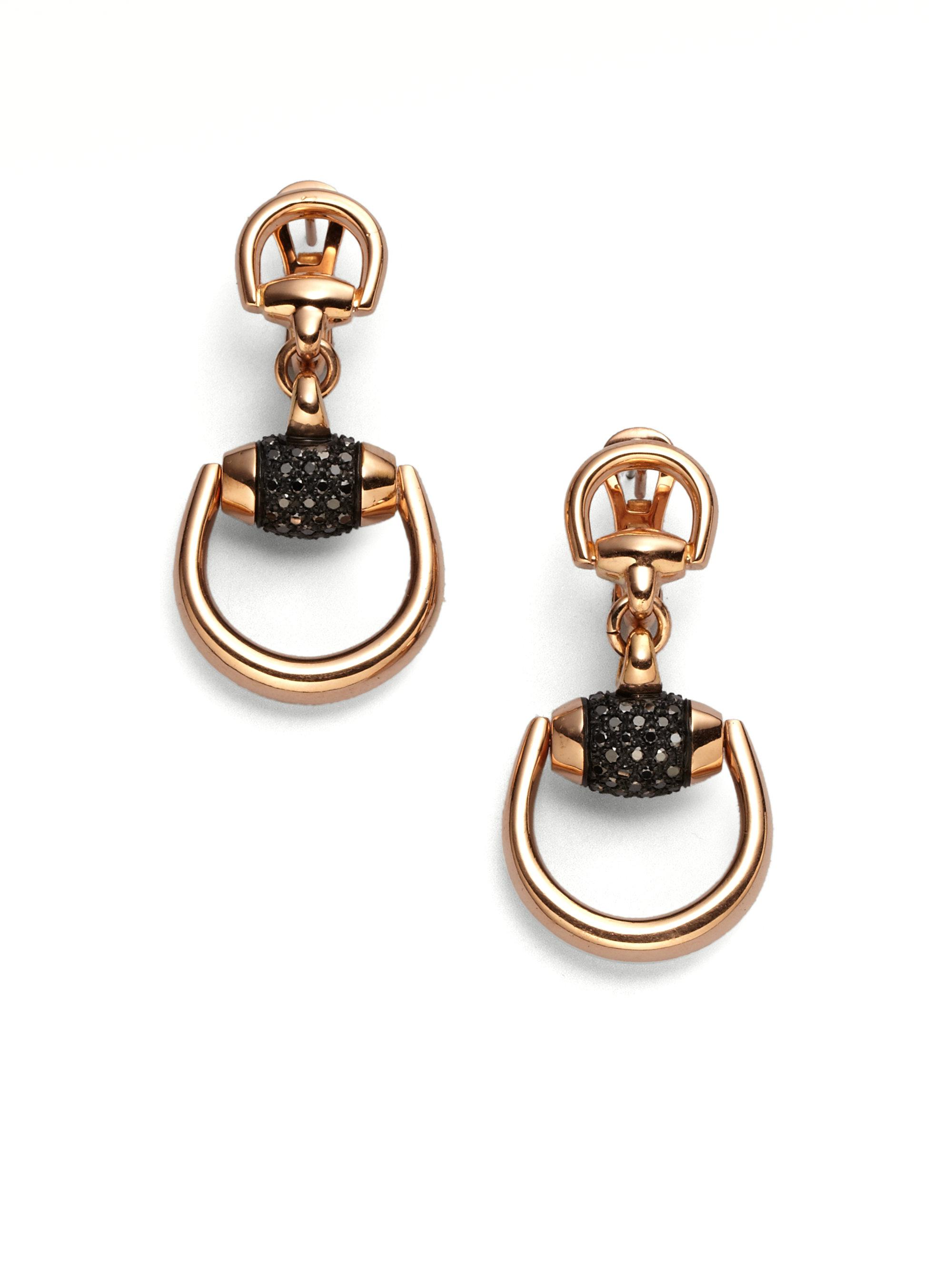 black in view gold fullscreen horsebit earrings jewelry diamond gucci drop rose ghost pink lyst