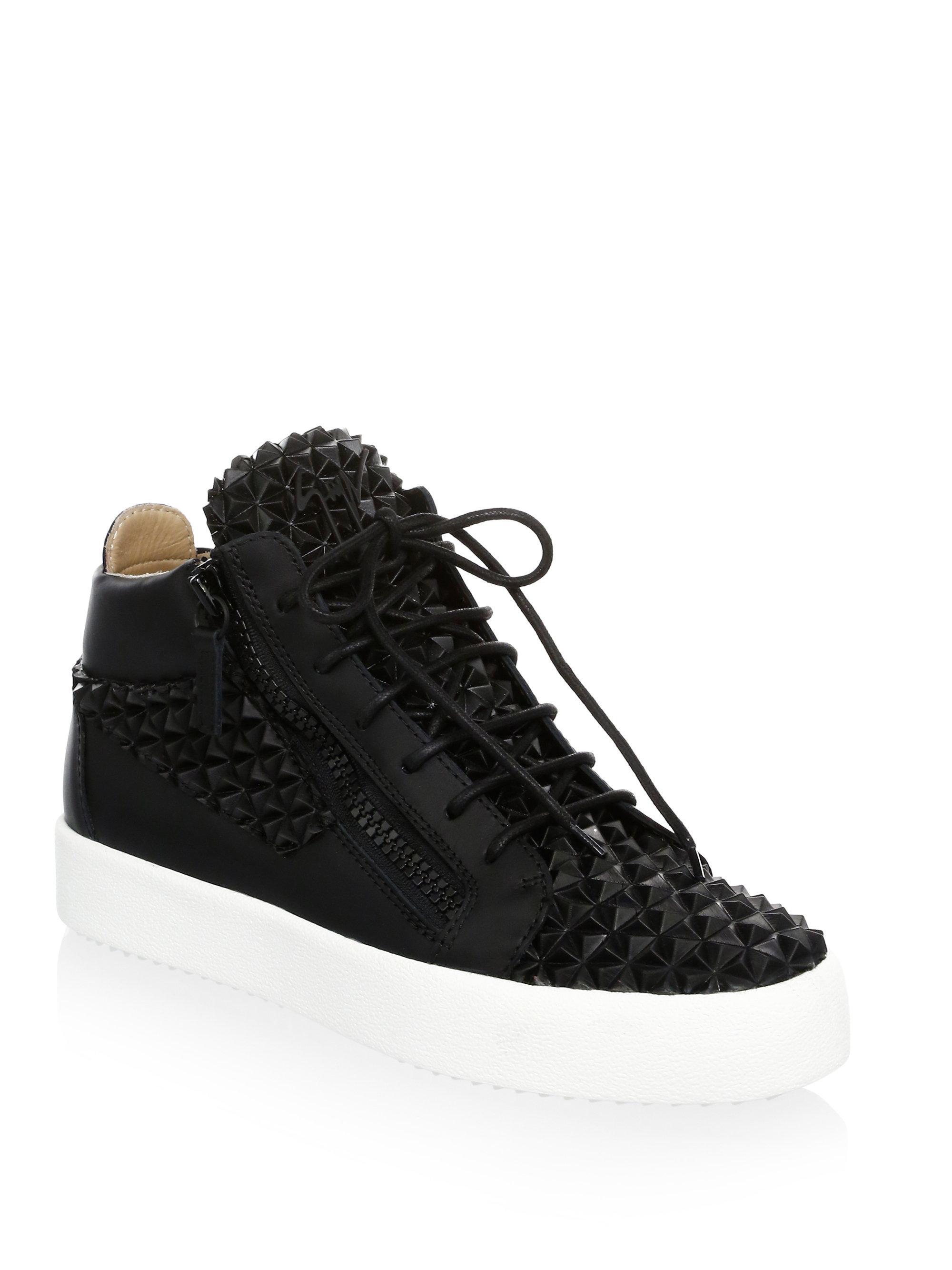 Giuseppe Zanotti. Women's Black Gradient Leather Mid-top Sneakers