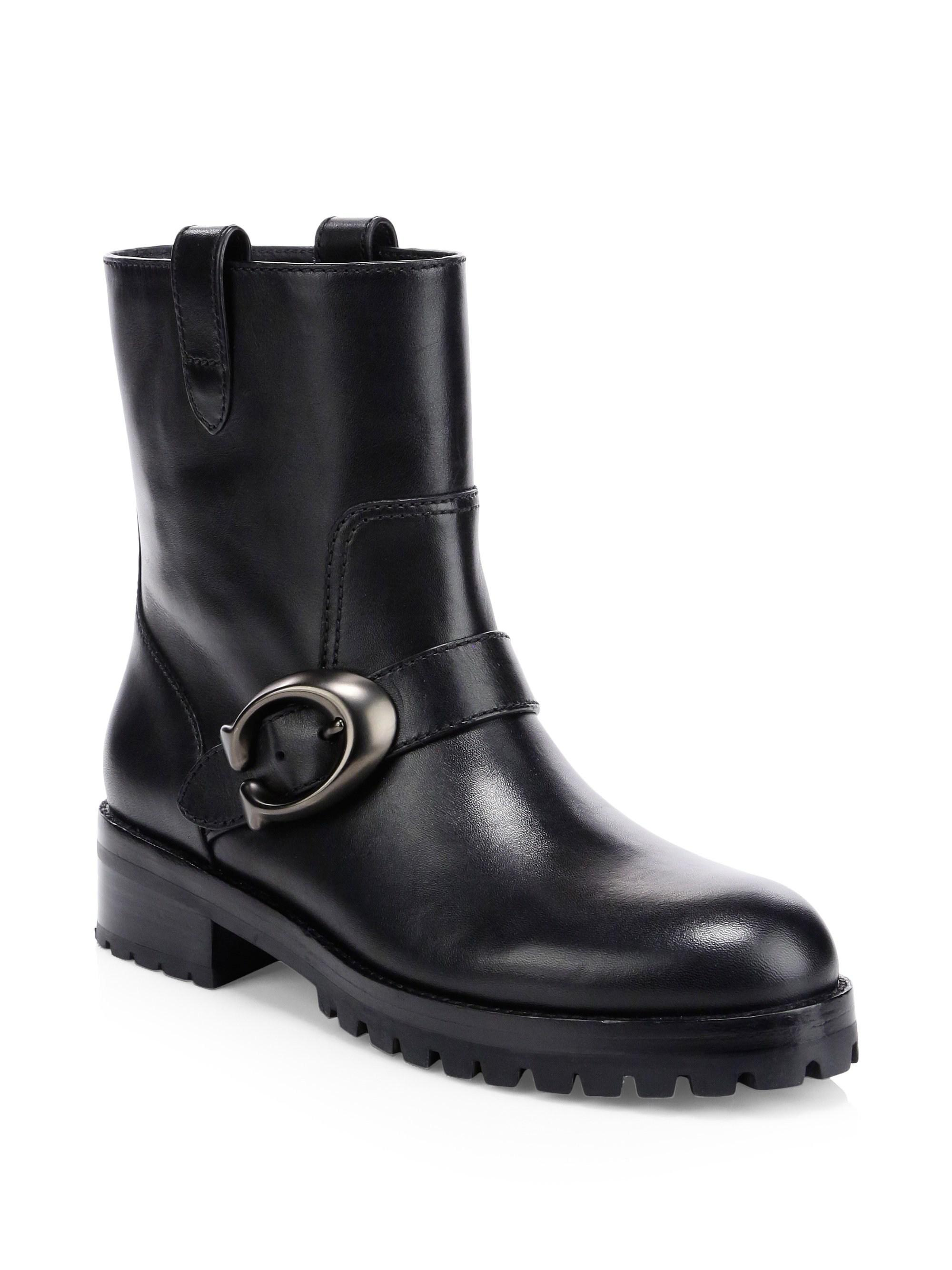 a046217c8c123 Coach Leighton Leather Moto Boots in Black - Lyst