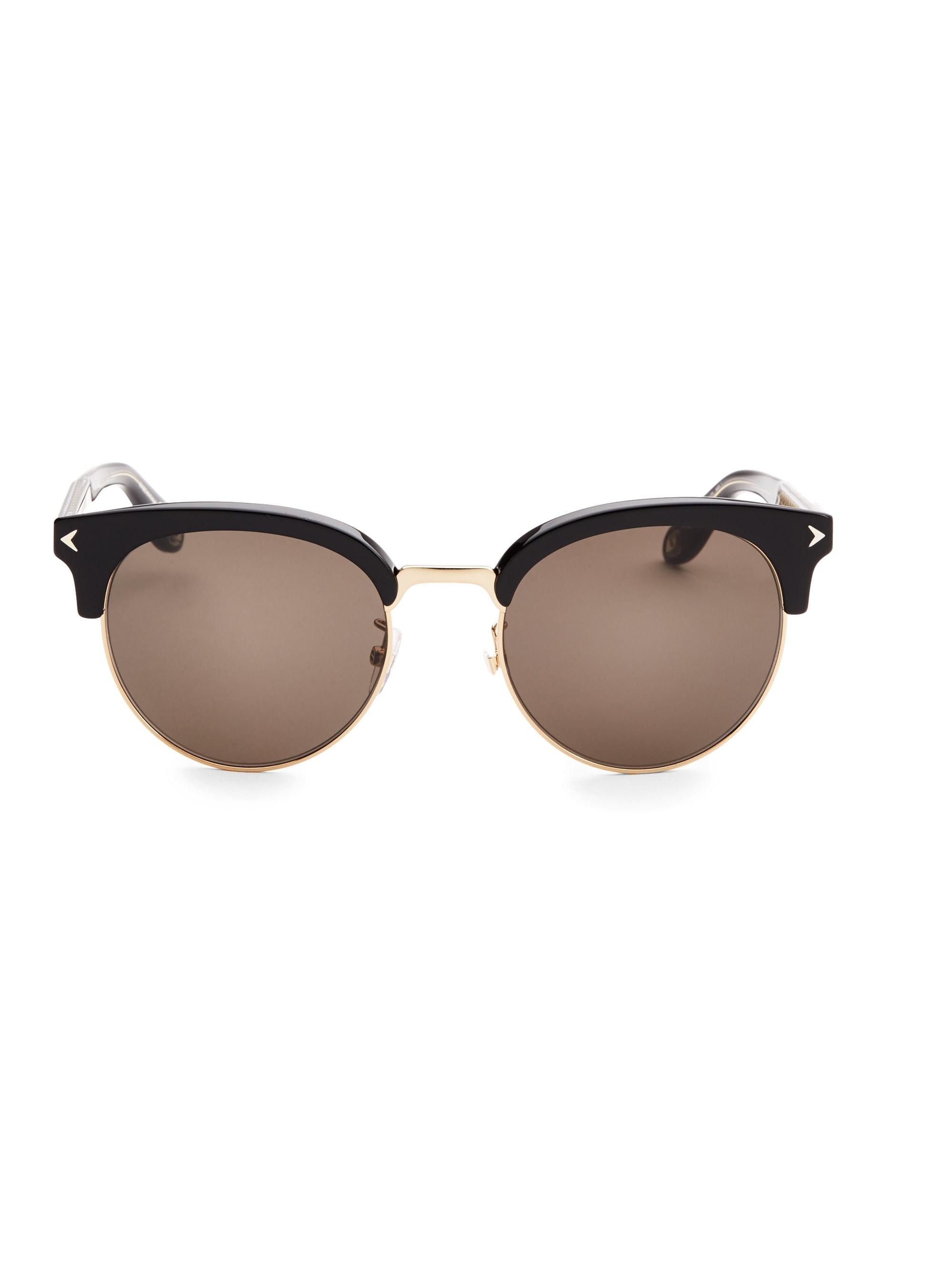 47f09ec3f39f Givenchy 55mm Half-rim Round Sunglasses in Black - Lyst