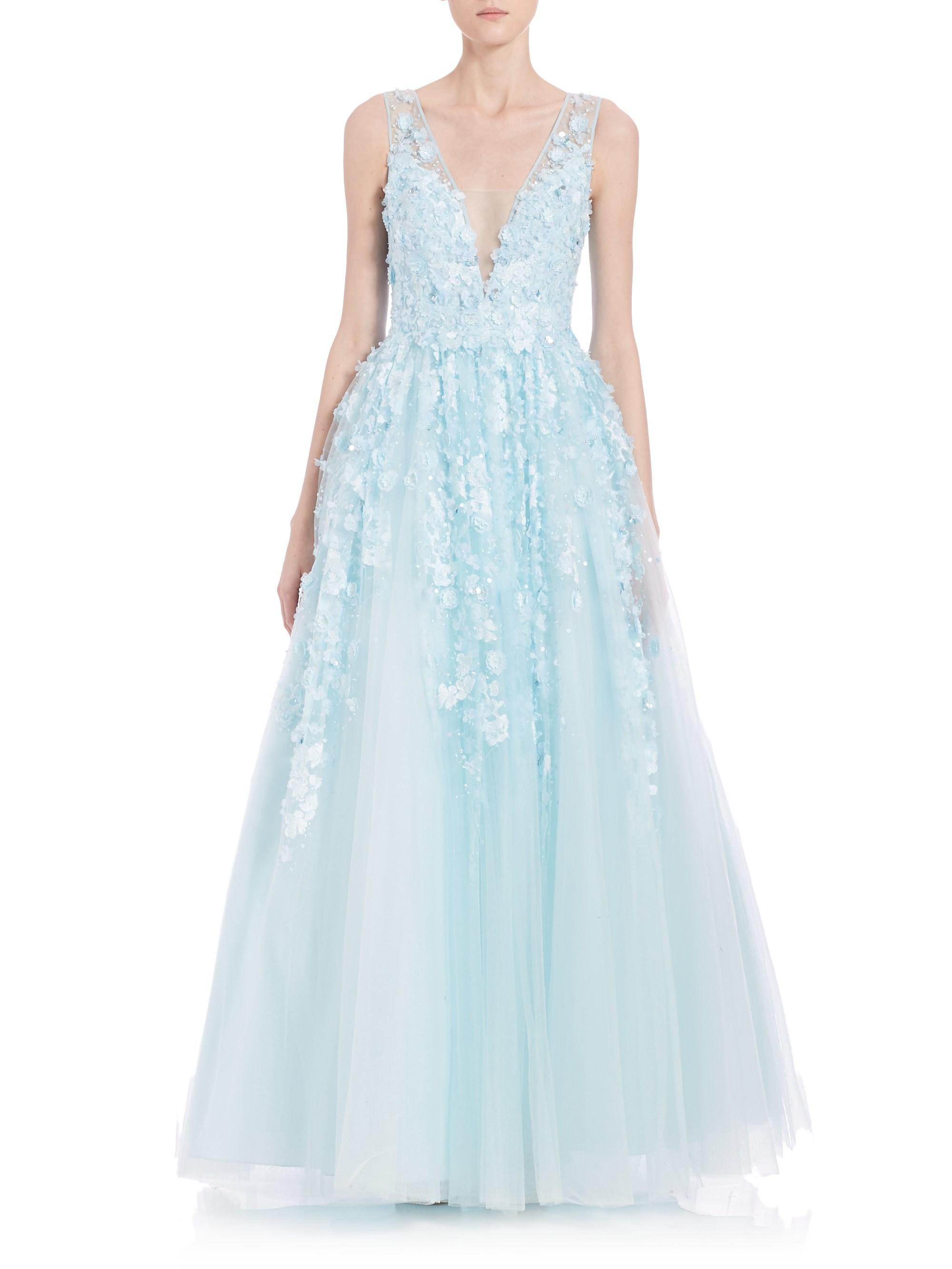130e3a5a9cc7 Lyst - Basix Black Label Floral Appliqué Gown in Blue