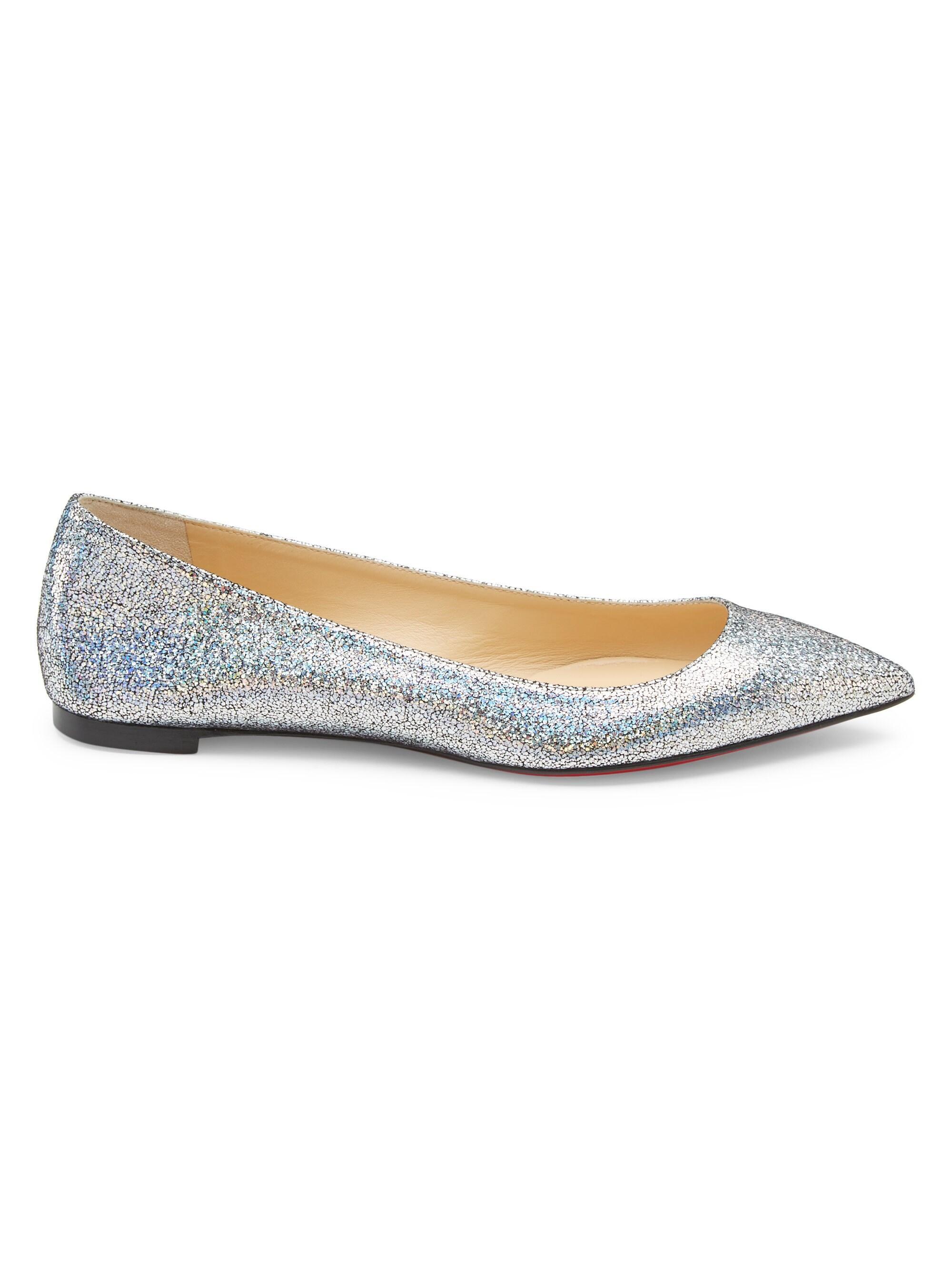 0126d573edf0 Christian Louboutin Ballalla Glitter Skimmer Flat in Metallic - Lyst