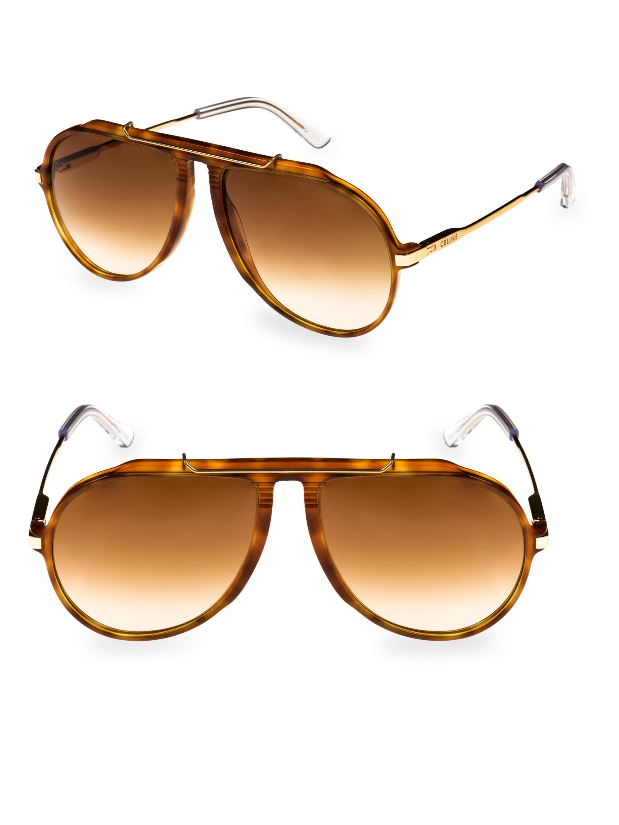 b683174c33ca9 Lyst - Céline Havana Aviator Sunglasses in Brown