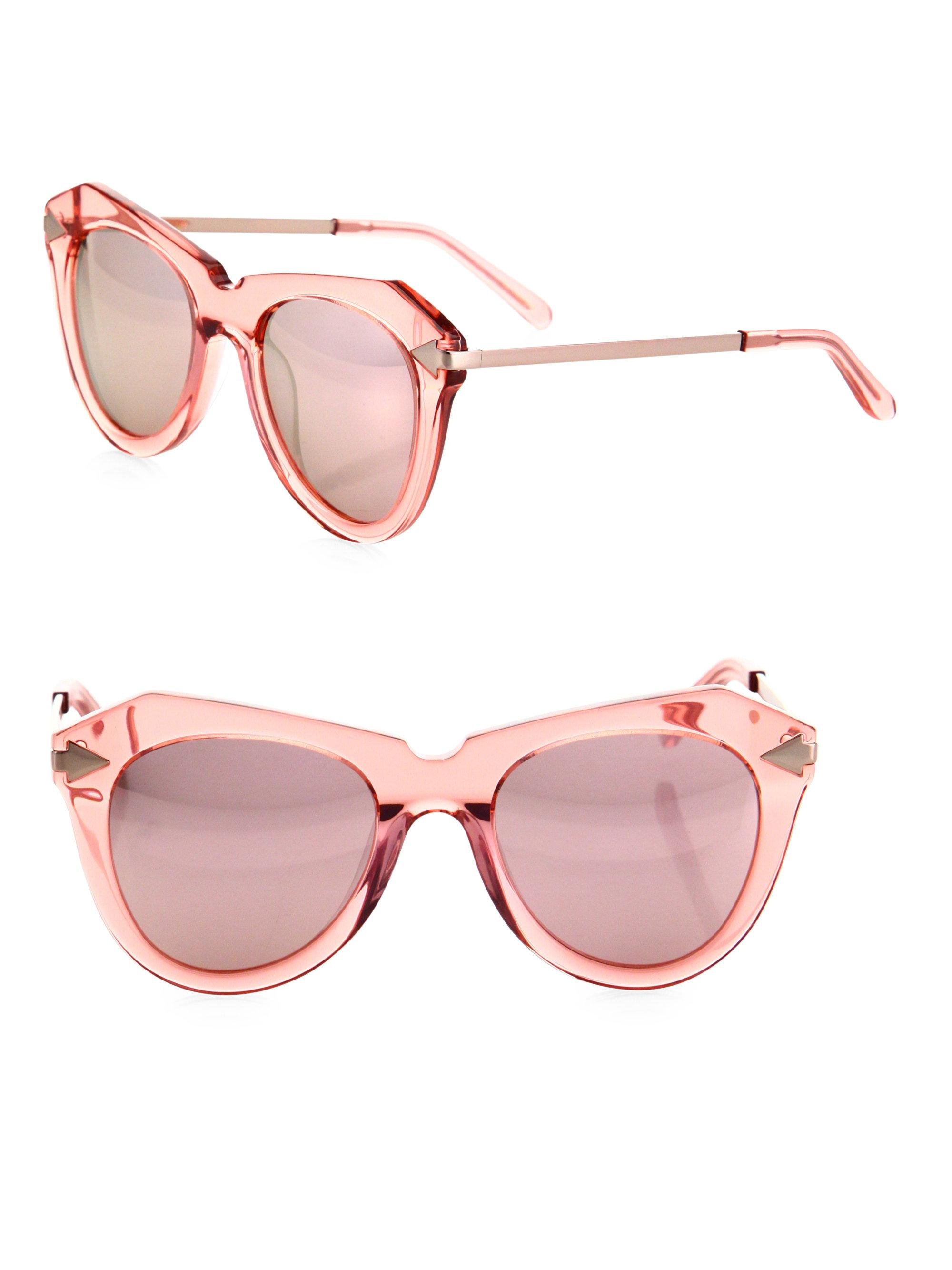 1bed4668e2fa Lyst - Karen Walker One Star 51mm Mirrored Cat Eye Sunglasses in Pink