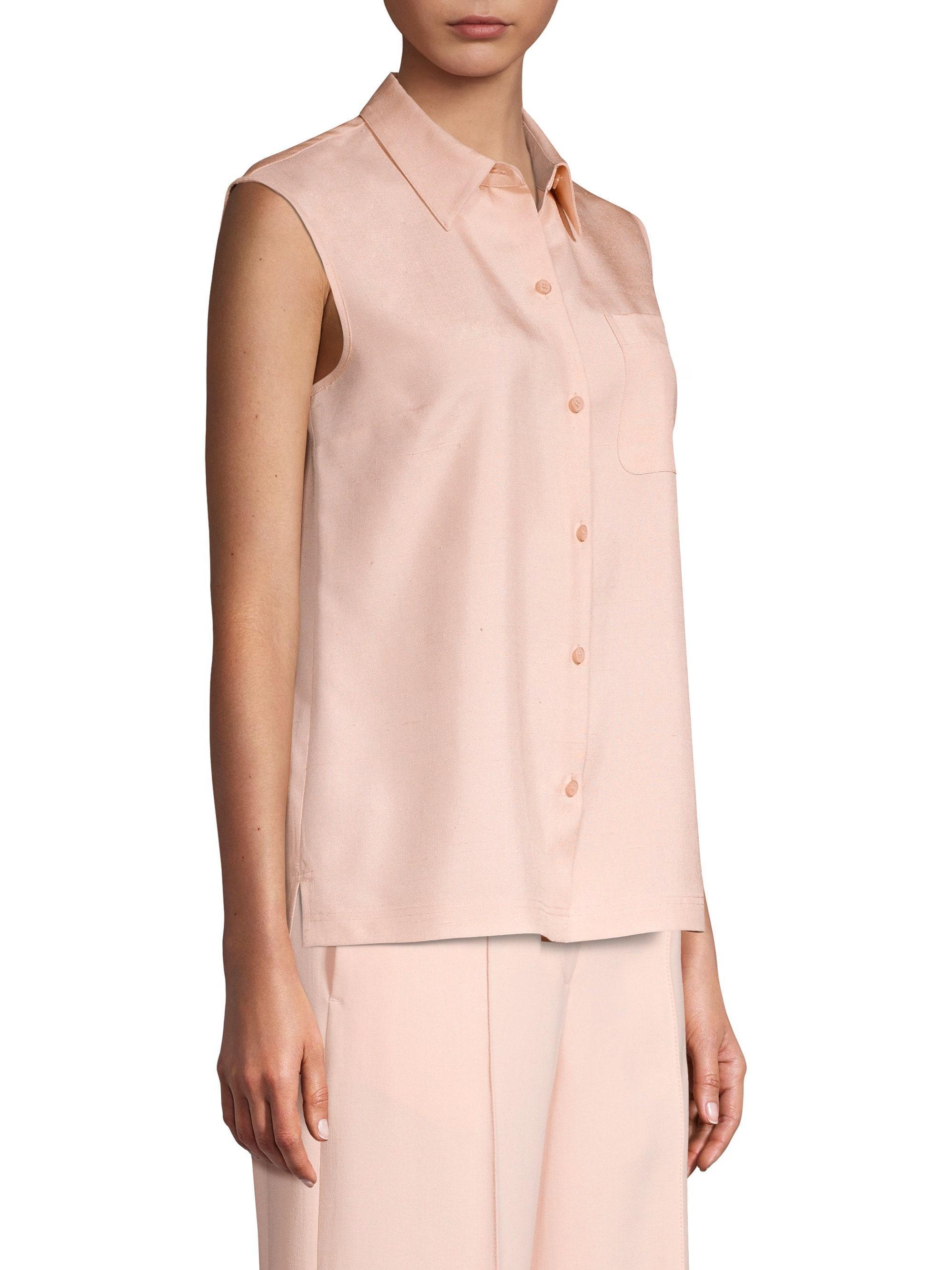 8014b4ab2538a Lyst - Lafayette 148 New York Women s Yani Sleeveless Silk Blouse -  Macaroon - Size 18 in Pink
