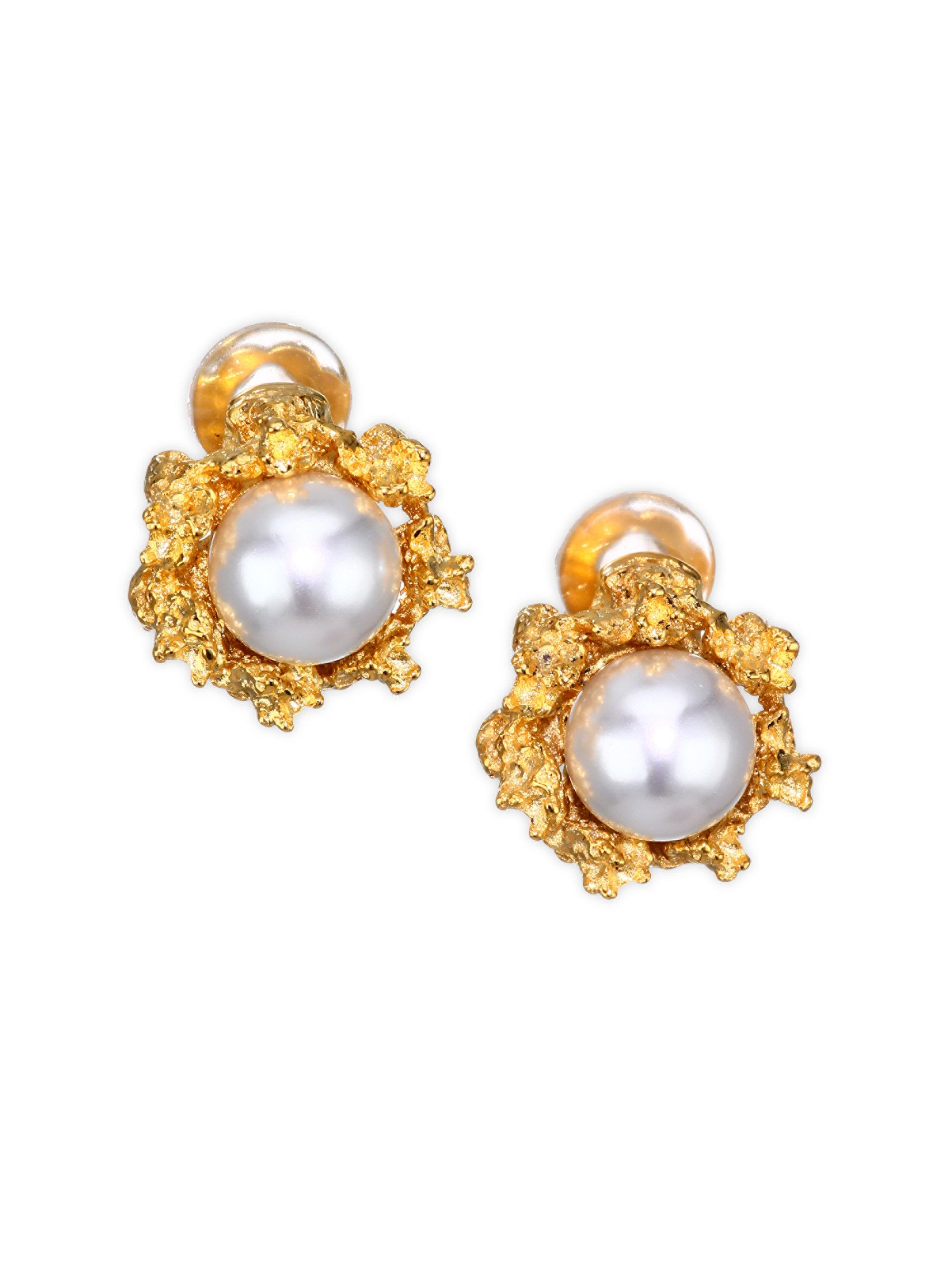 logo stud silver faux pearl womens accessories gb colour earrings jewellery millen karen