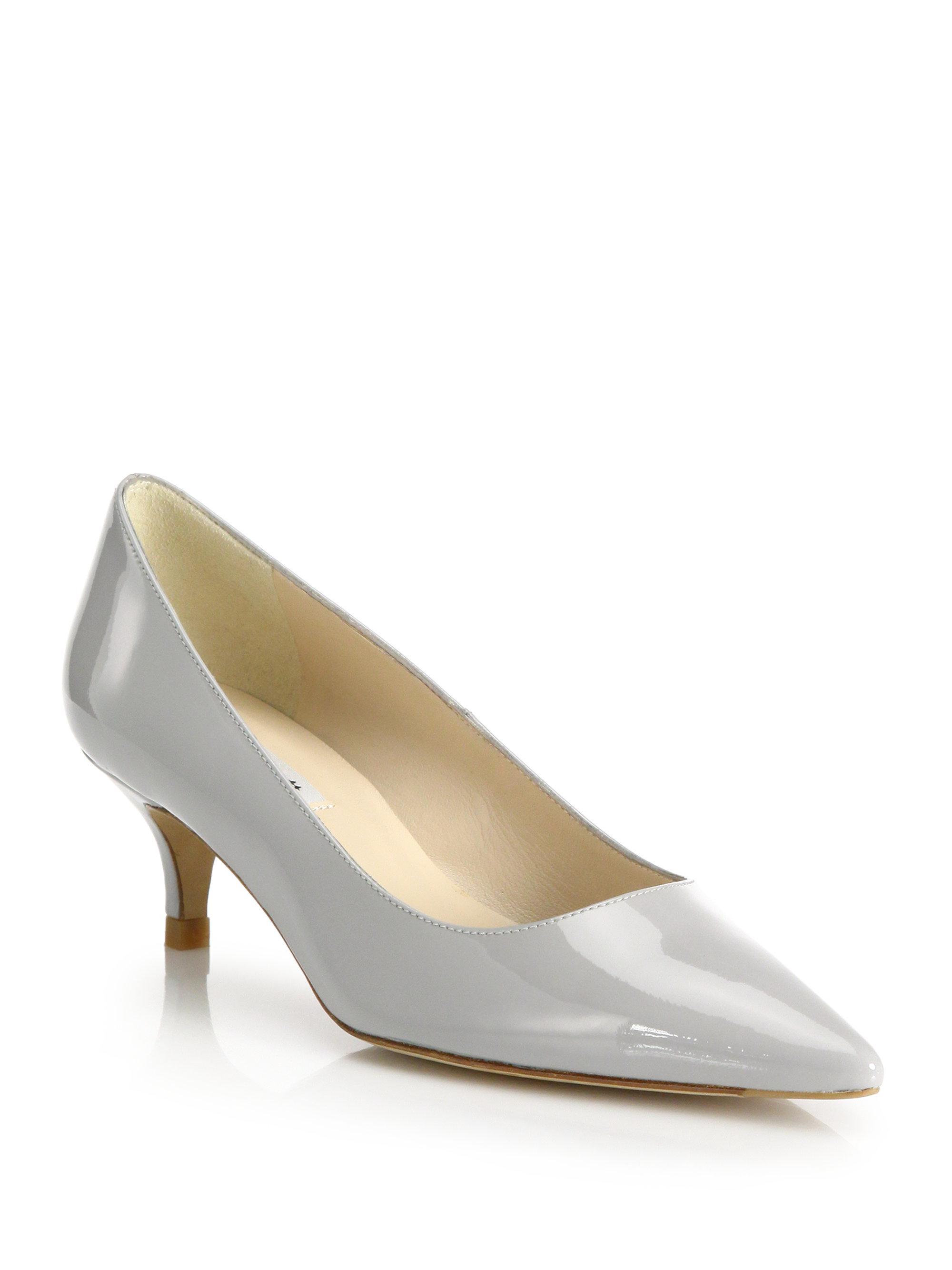 Lyst - L.k.bennett Minu Patent Leather Kitten-heel Pumps in Gray