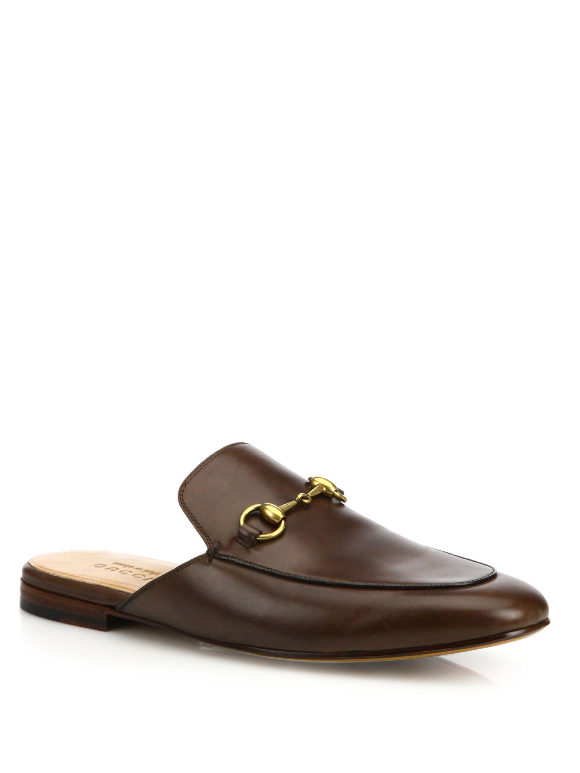 Leather Horsebit slipper - Brown Gucci TQxfh9CM2S