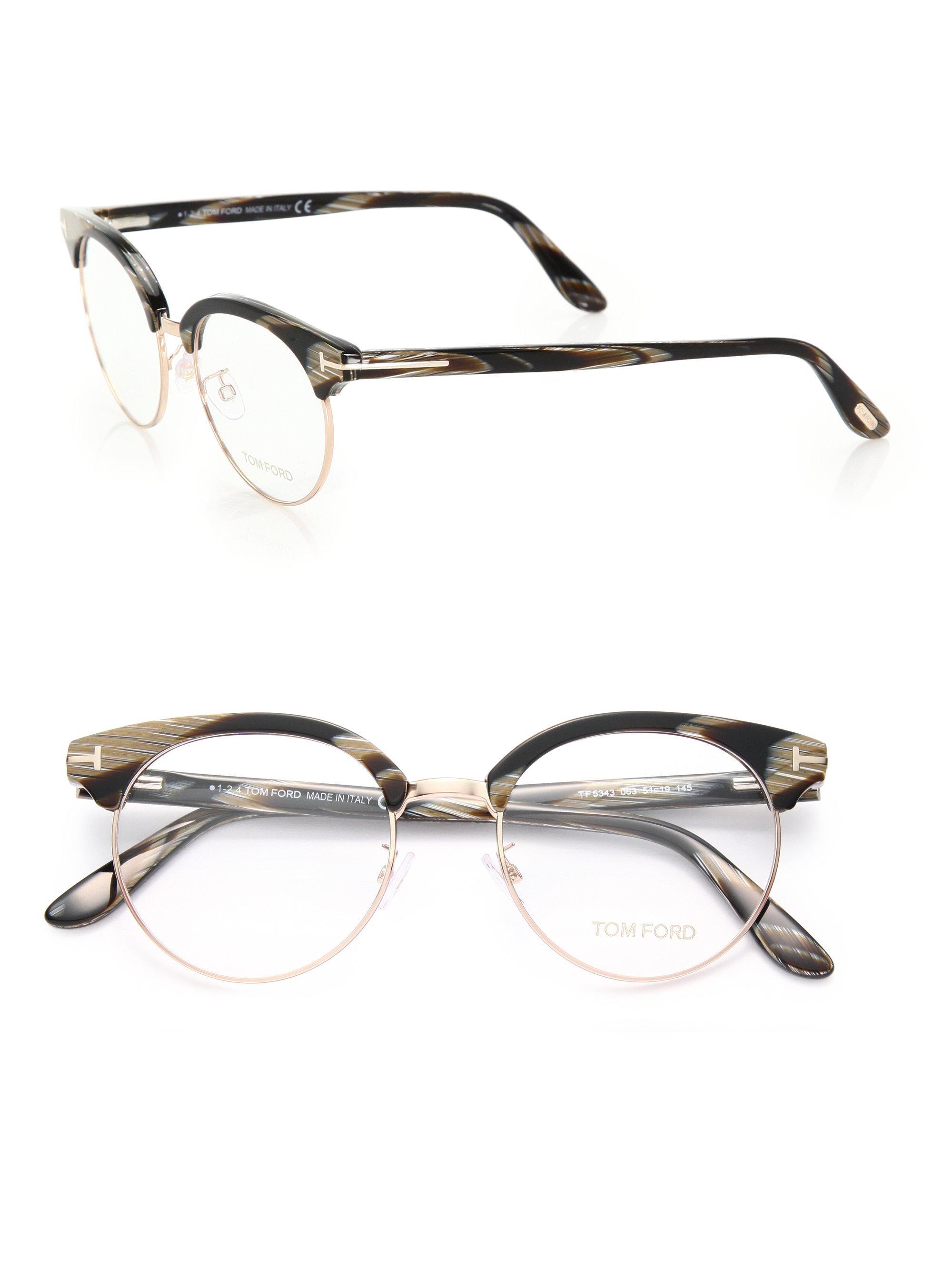 ffb9ec8842 Lyst - Tom Ford 51mm Round Acetate   Metal Optical Glasses in Black
