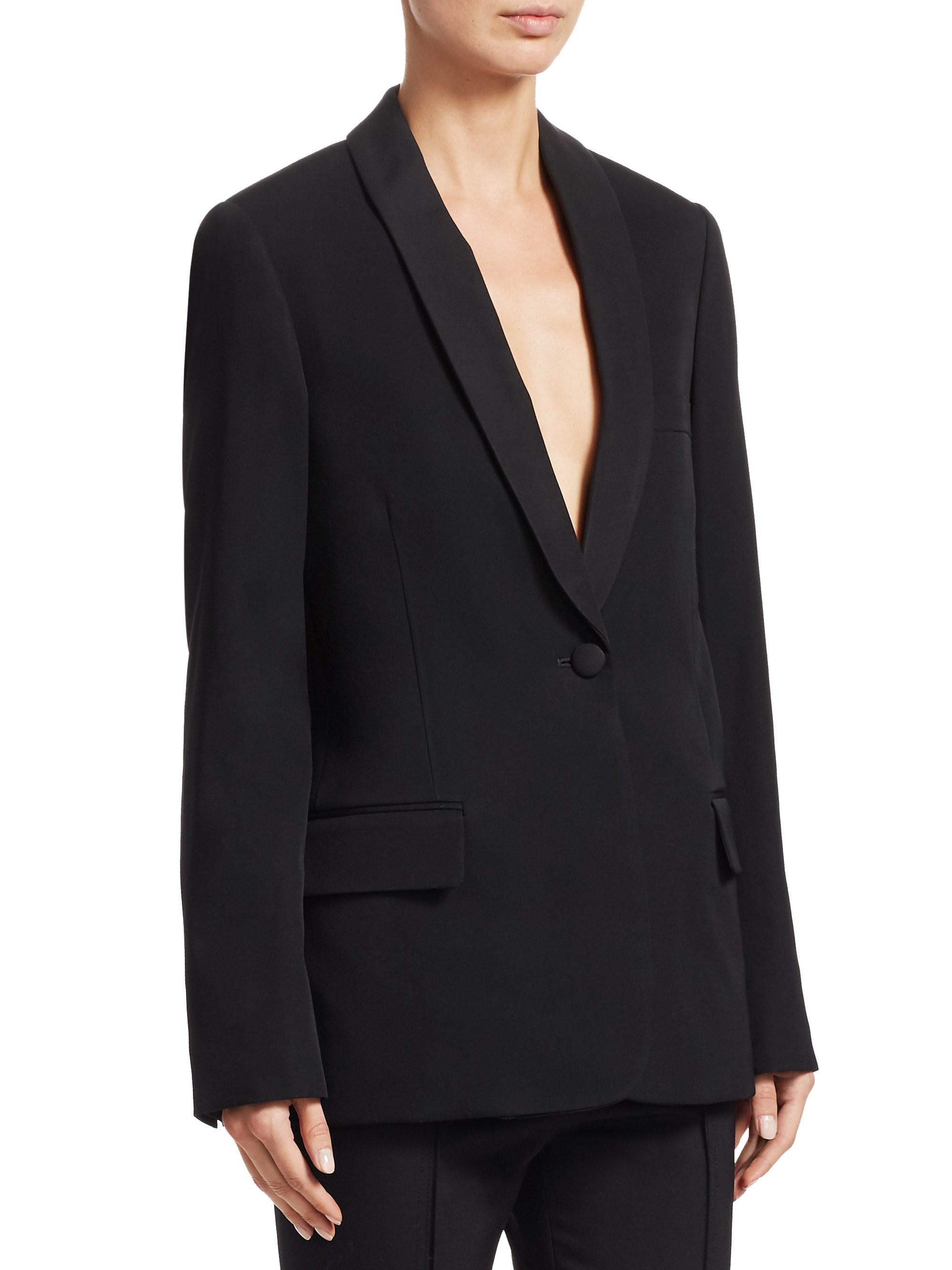 a4273bf5e525 Lyst - Stella Mccartney Grosgrain Tie One-button Wool Blazer in Black