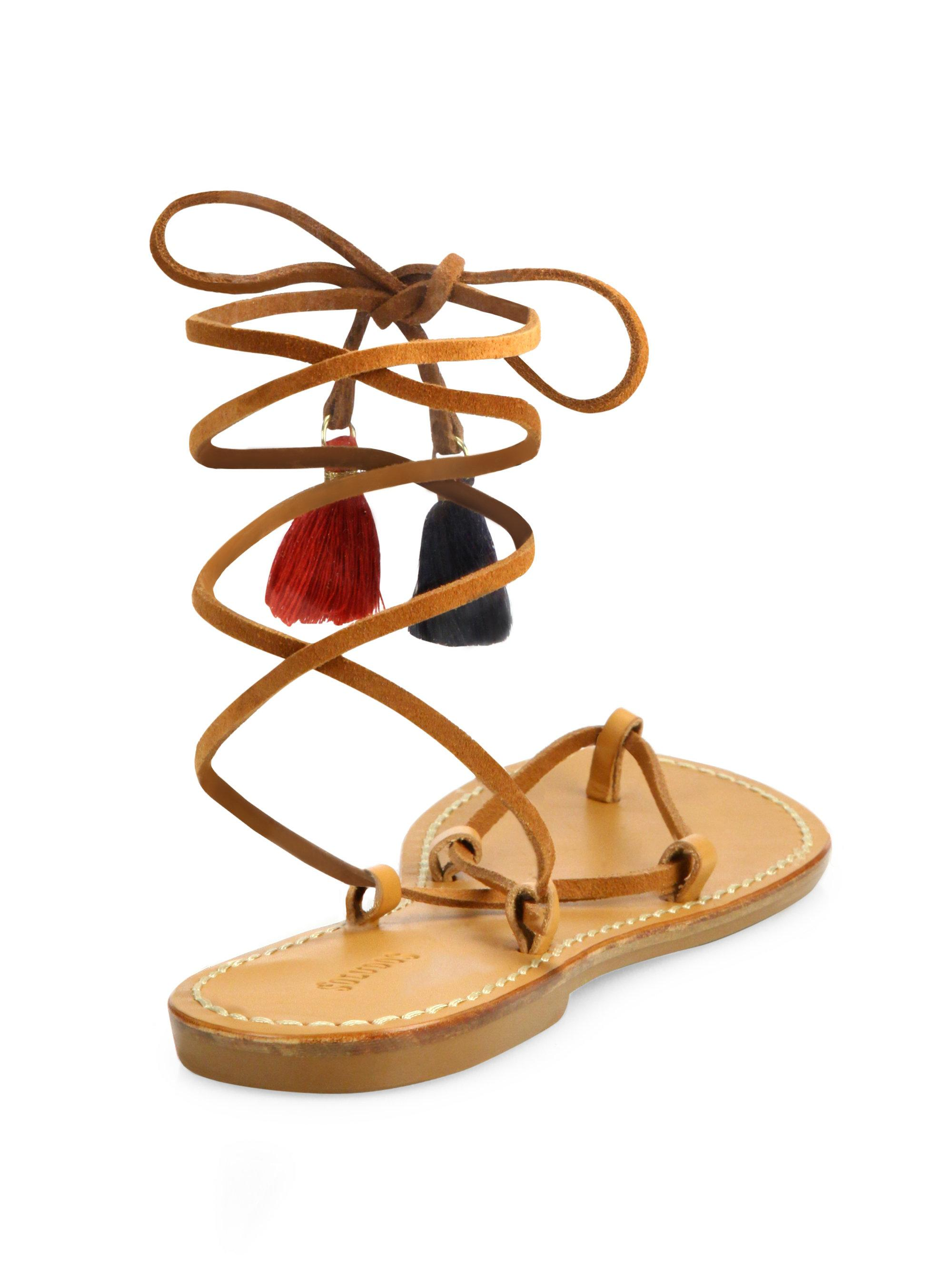 d0f2467eaa23 Lyst - Soludos Leather   Cotton Lace-up Flat Sandals in Brown