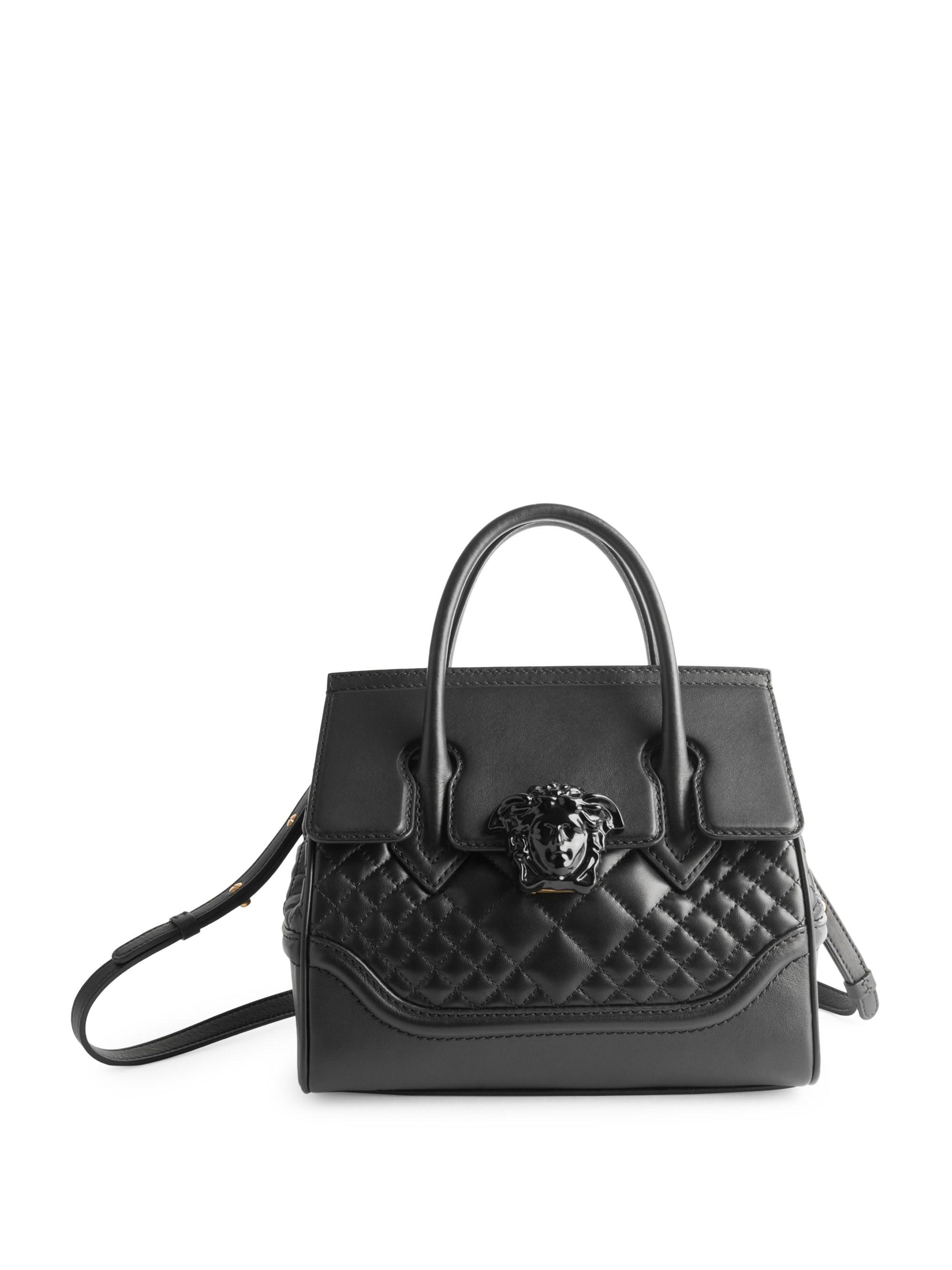 7e4f5fdae167 Versace Quilted Palazzo Empire Top Handle Bag in Black - Lyst
