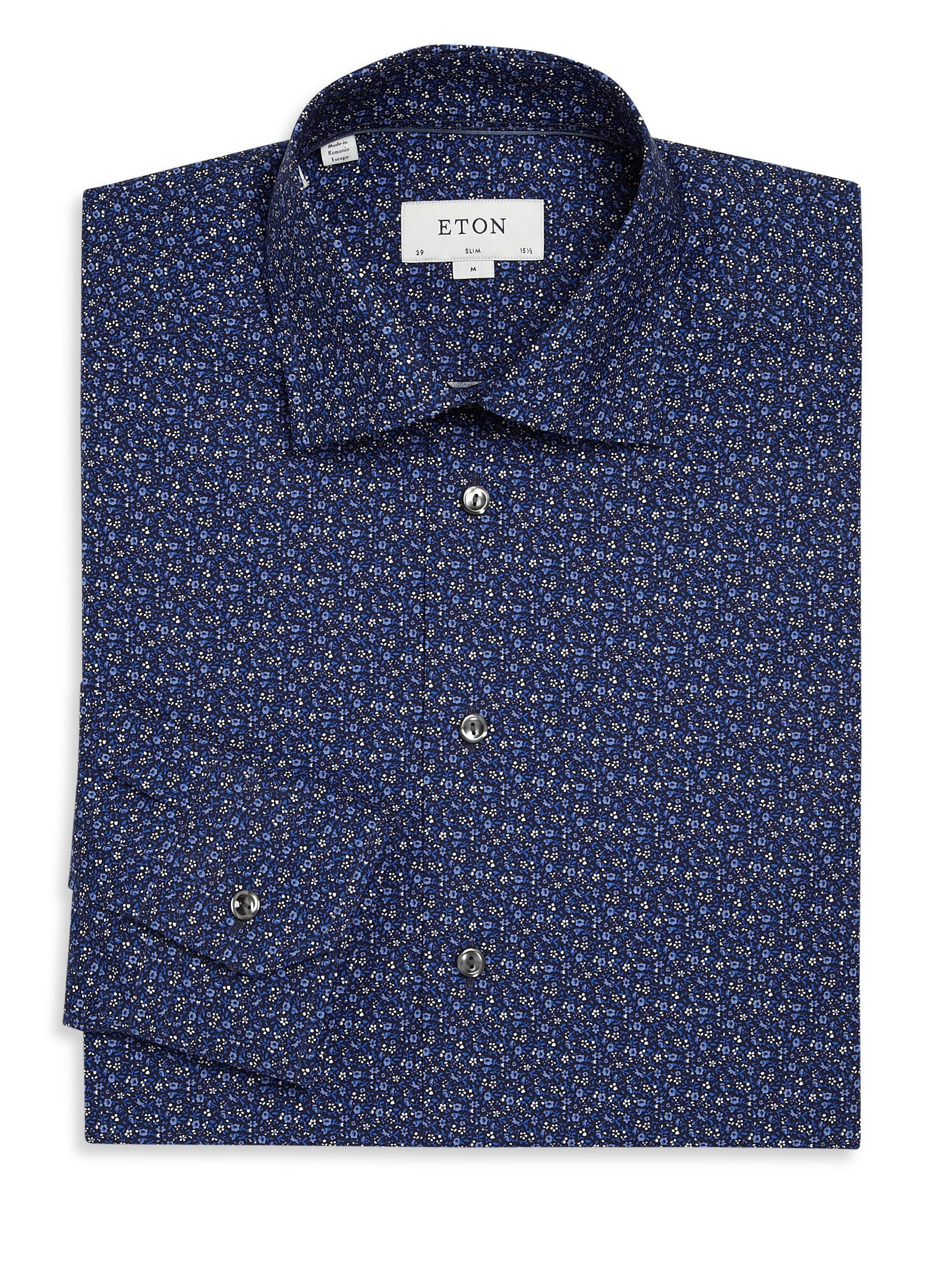 Eton of sweden Slim-fit Flower Print Dress Shirt in Blue ...