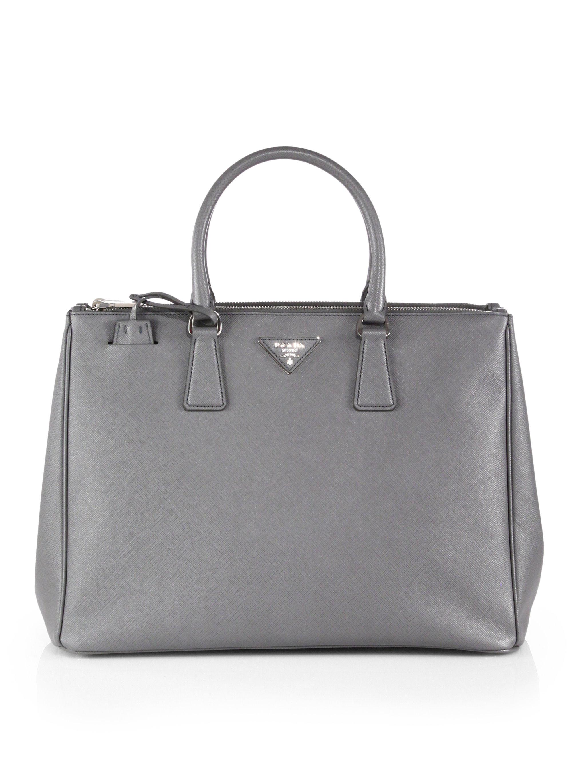 1e94292b55e7 Lyst - Prada Saffiano Lux Large Double-zip Tote in Gray