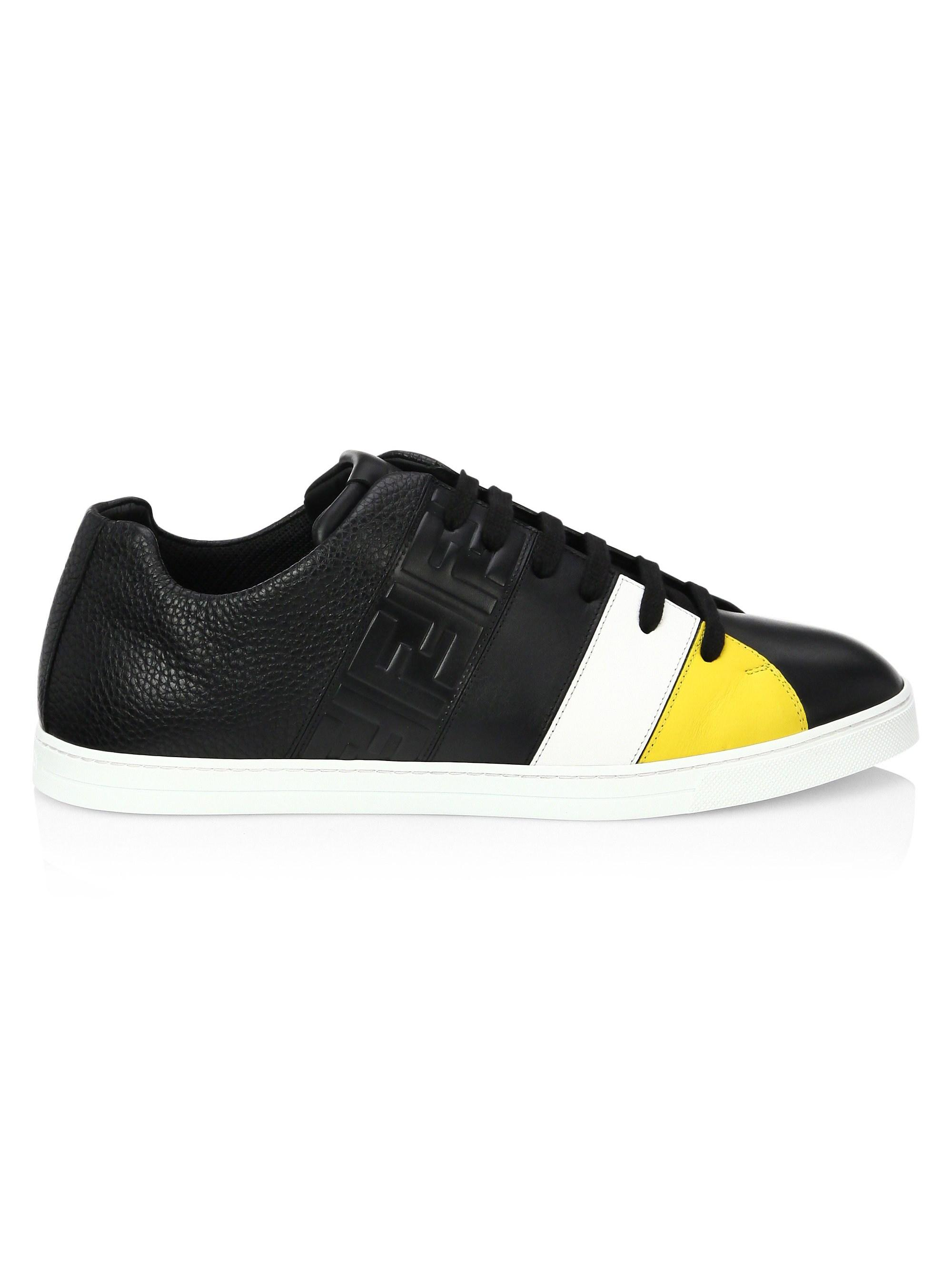 caf3ecc681 Fendi Men's Colorblock Leather Low-top Sneakers - Black - Size 13 Uk ...