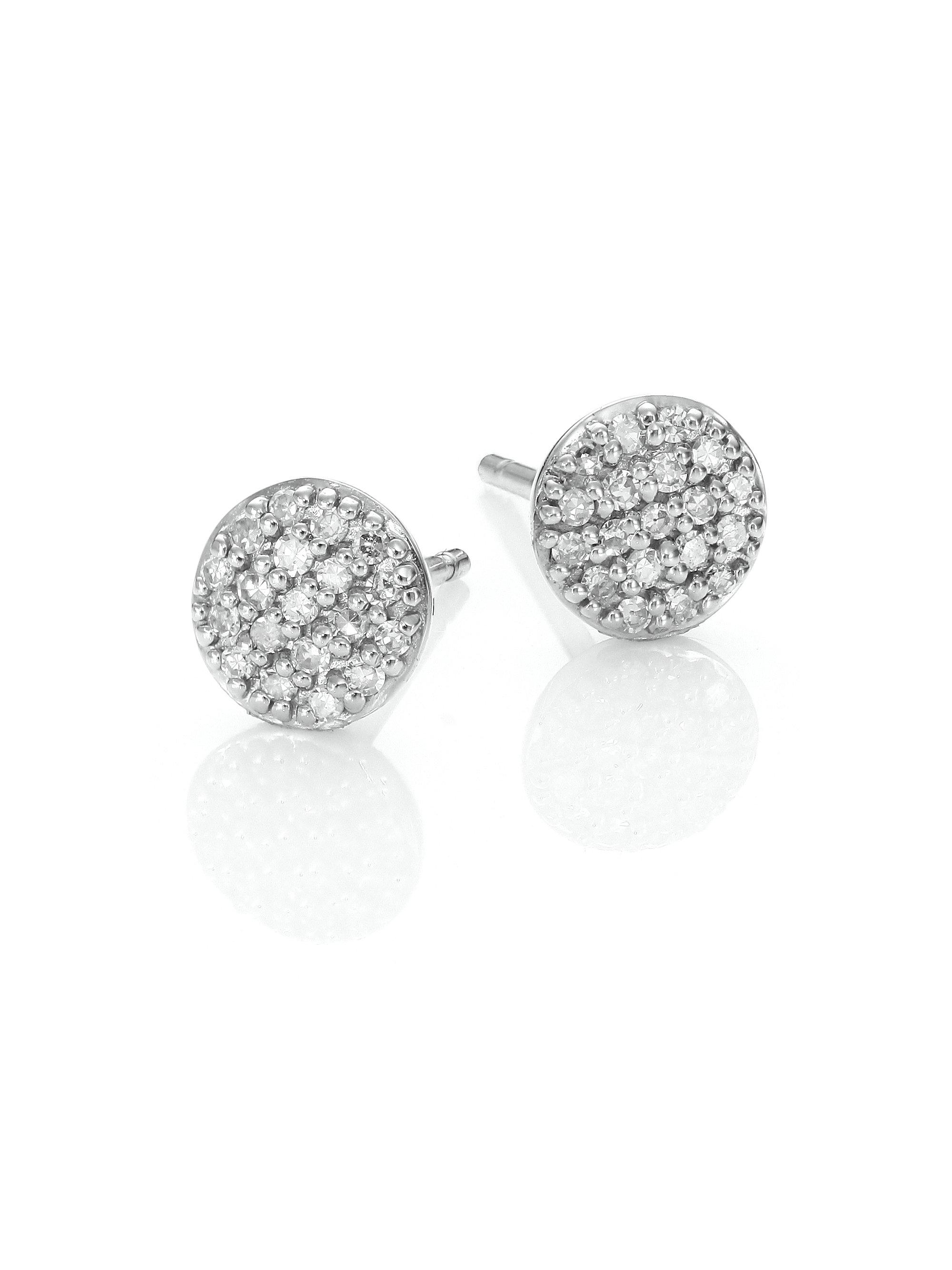 Phillips House Women S Metallic Affair Micro Infinity Diamond 14k White Gold Stud Earrings