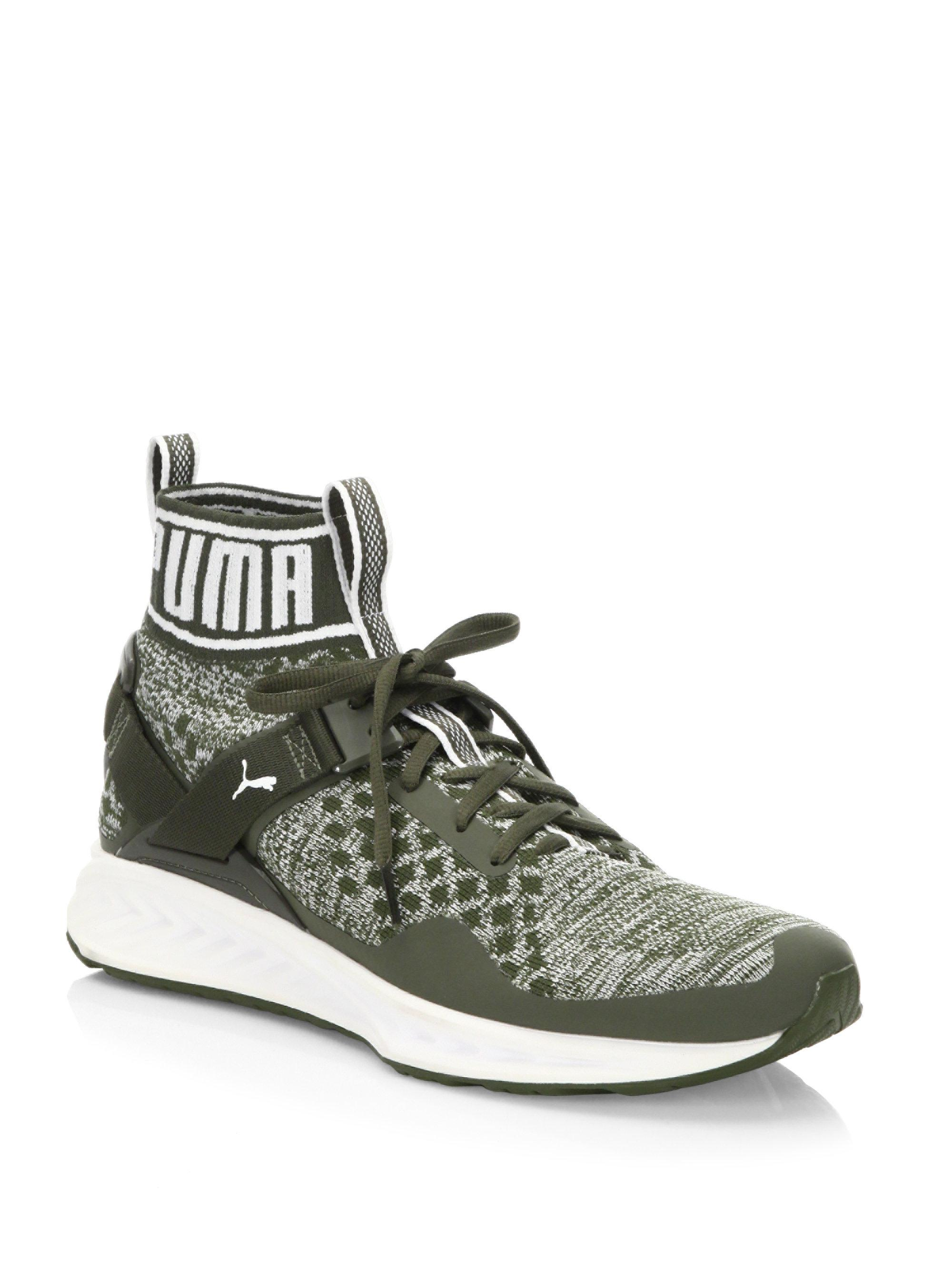 bf18db7547fc Lyst - PUMA Ignite Evoknit High-top Sneakers in Green for Men