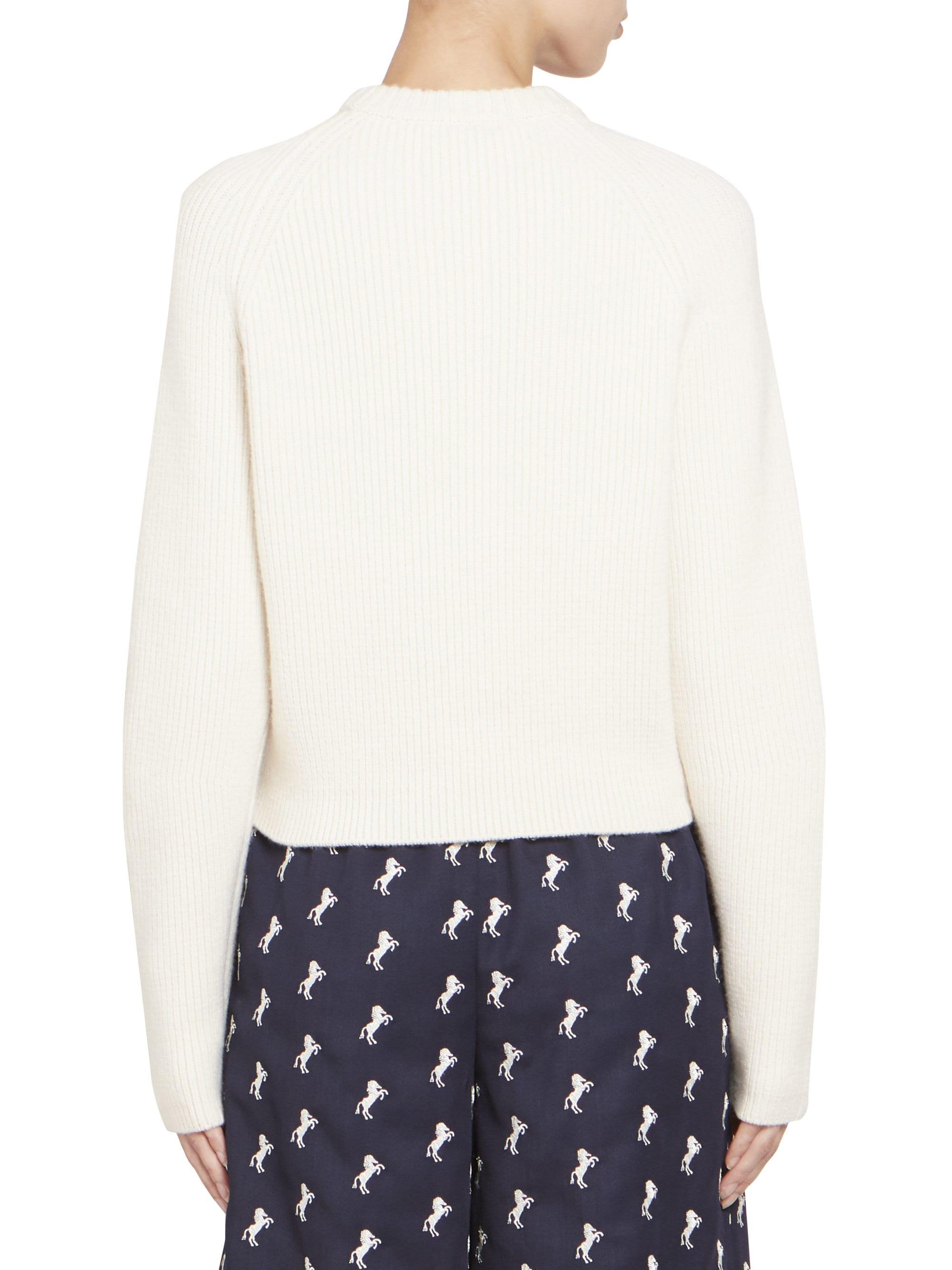 eb2e2afe3406 Chloé - White Chunky Wool Long Sleeve Knit Pullover - Lyst. View fullscreen
