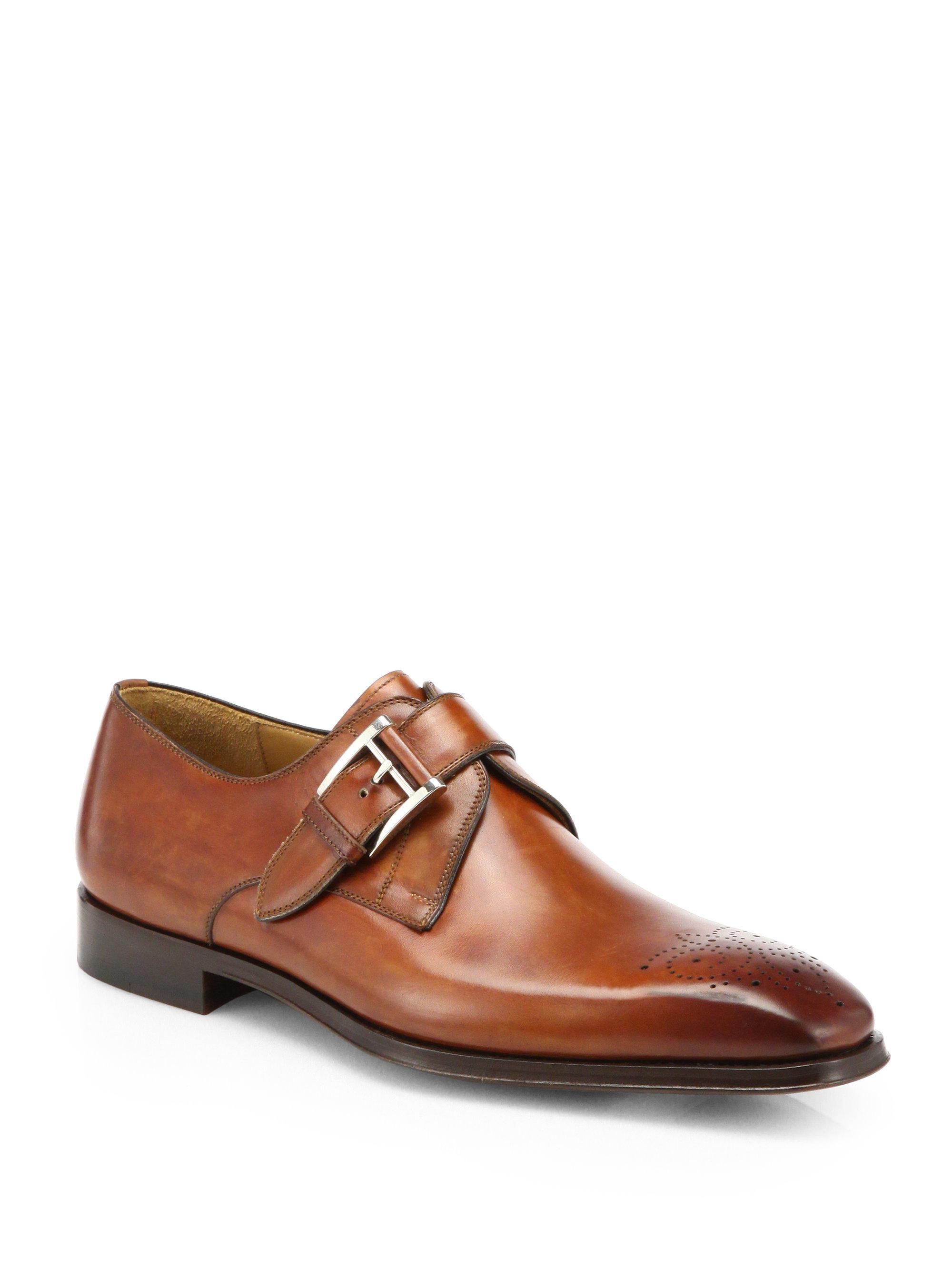 Saks Fifth Avenue COLLECTION Double Monk-Strap Leather Shoes paufn