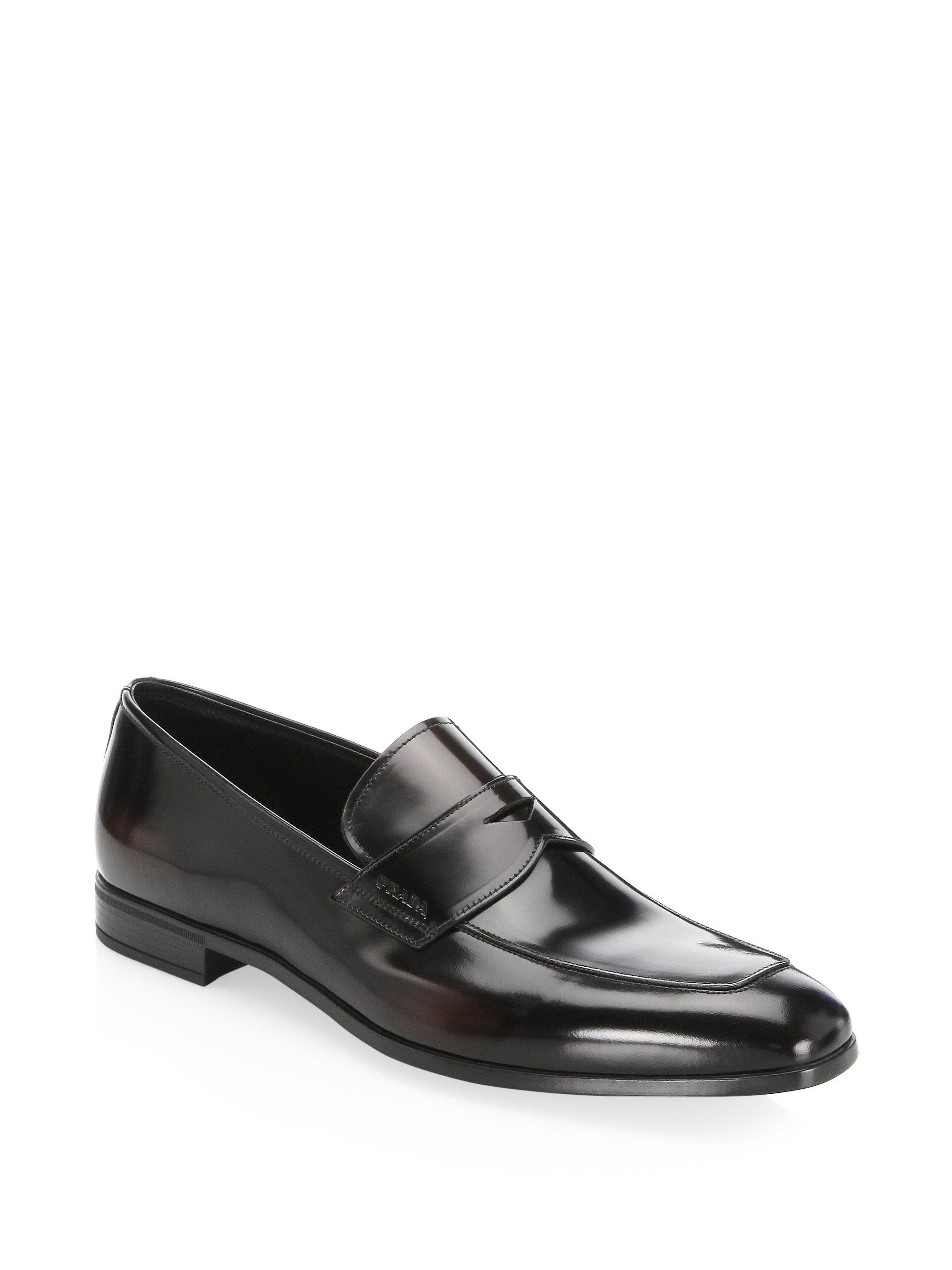 a2a03d70ab9 Prada Leather Penny Loafers in Brown for Men - Lyst