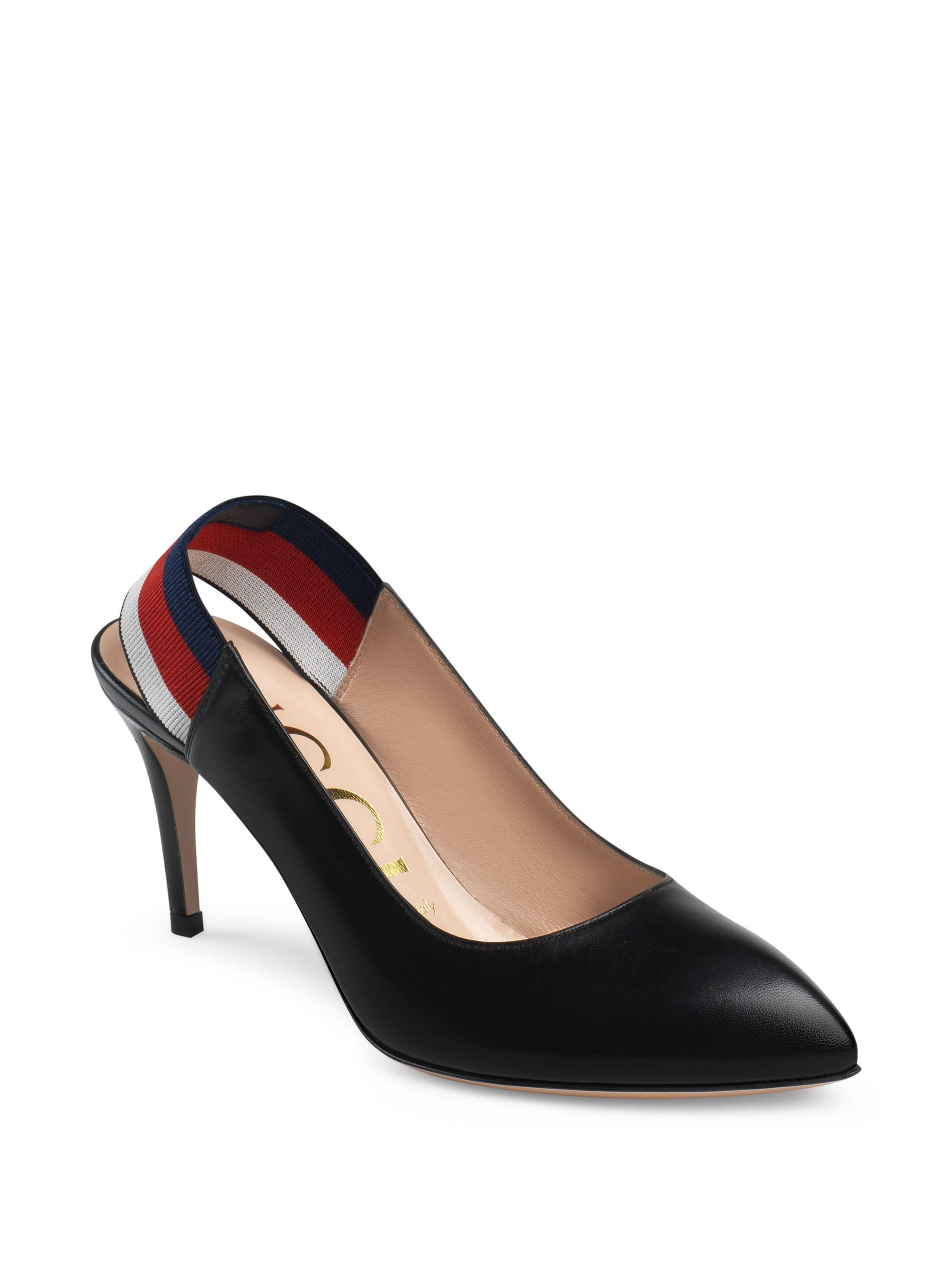 164595ce2d1 Gucci Sylvie Leather Web Slingback Pumps in Black - Lyst