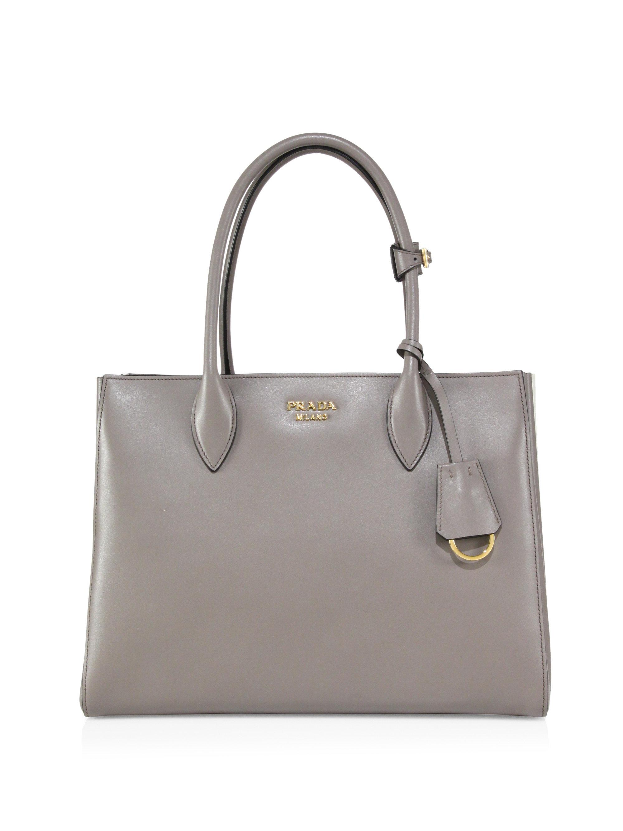 6bf47b629a8a ... promo code for prada city two tone leather tote in gray lyst 62275 569b9