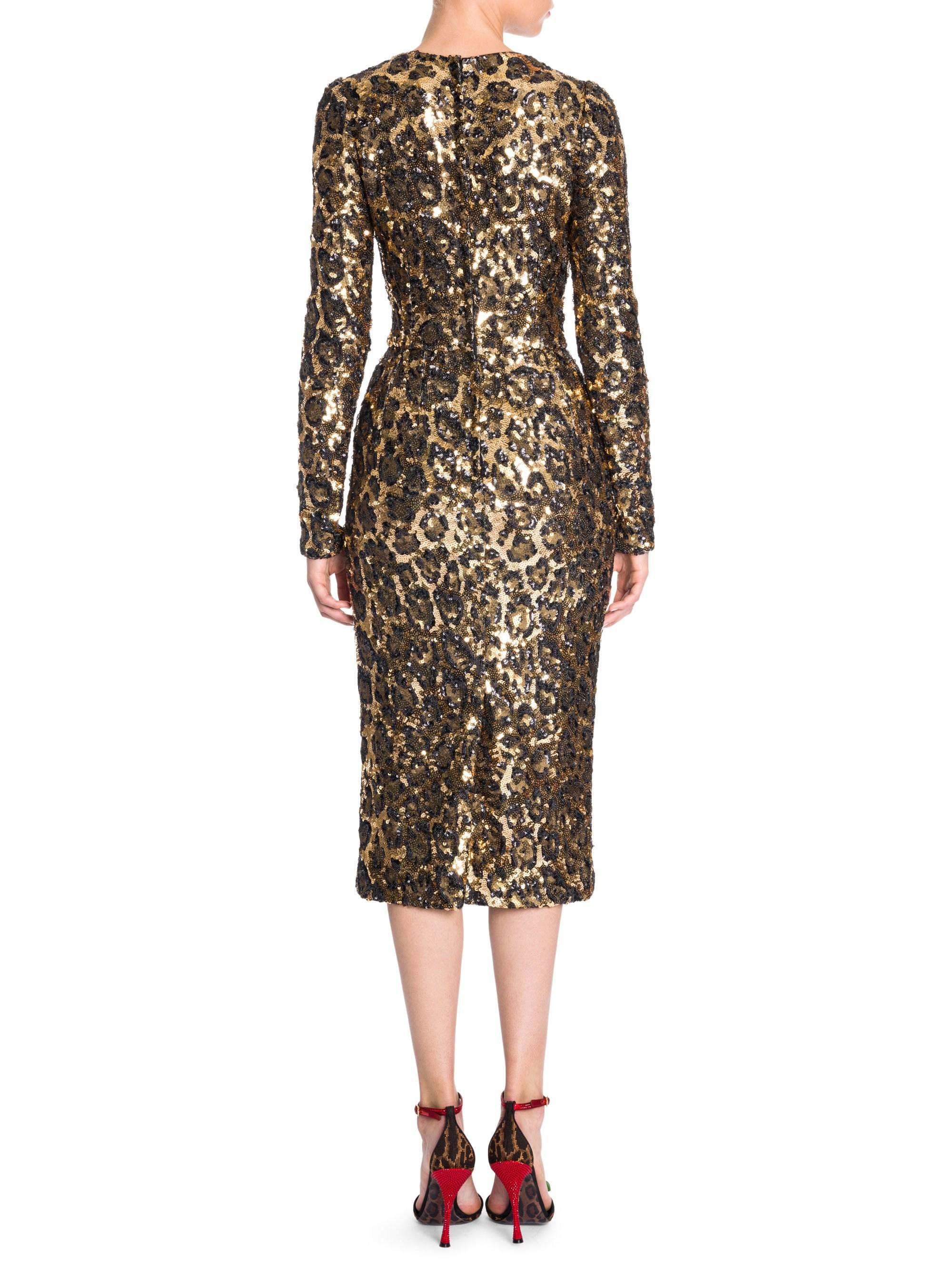 Lyst - Dolce   Gabbana Women s Leopard Sequin Long Sleeve Dress - Leo -  Size 48 (12) c76fbeb92