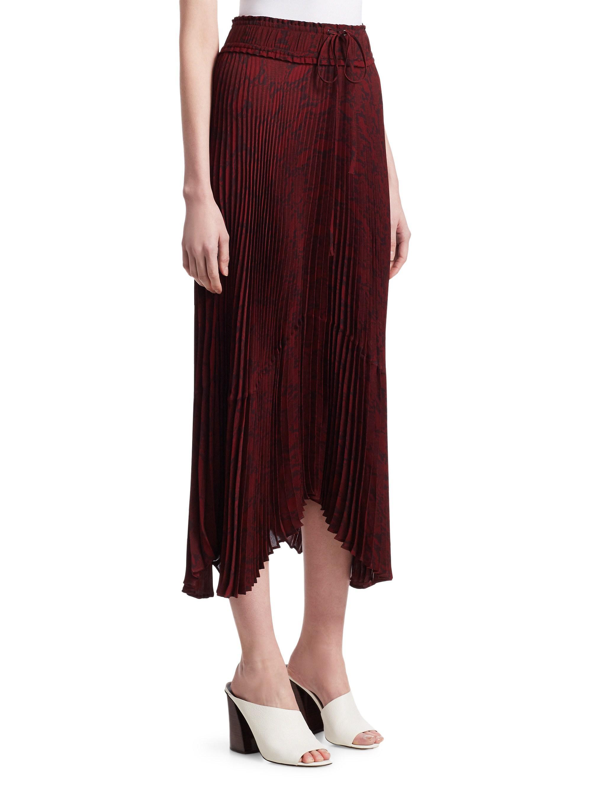 Alc Maya Tie Waist Pleated Midi Skirt Lyst Maroon View Fullscreen