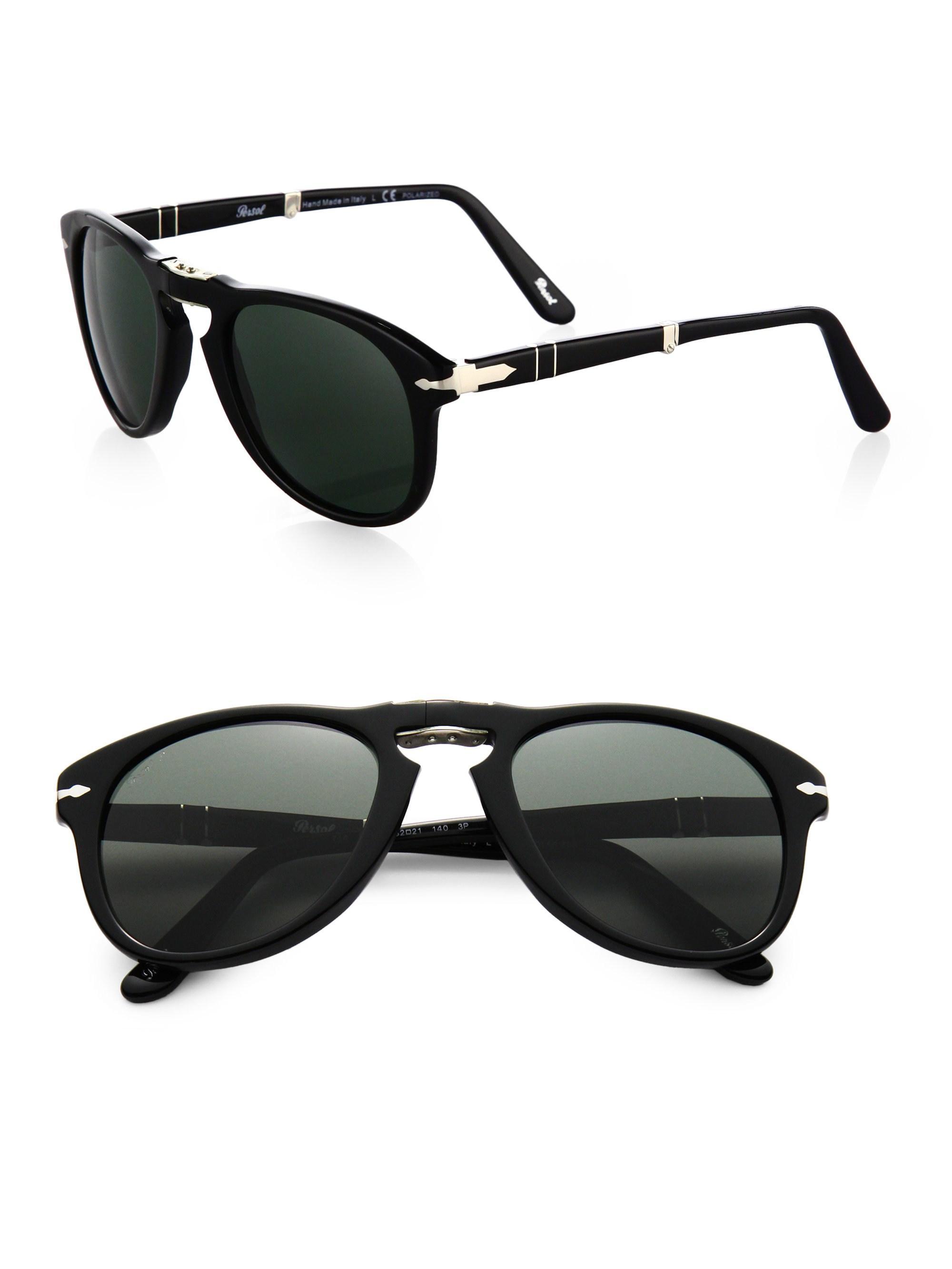 1dc421e3be Lyst - Persol Folding Keyhole Plastic Sunglasses in Black