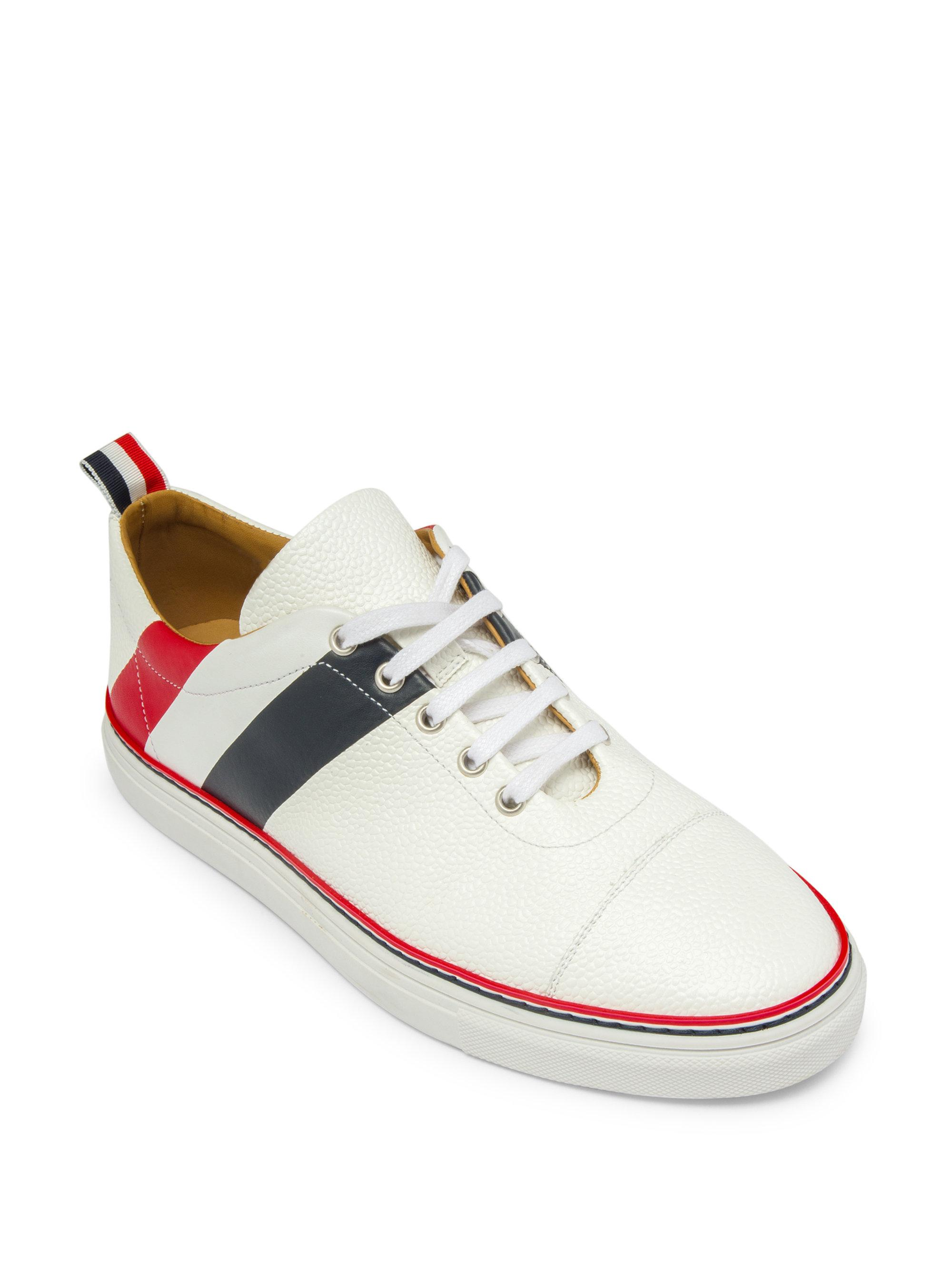 Thom BrowneDiagonal Stripe Canvas & Leather Low-Top Sneakers lJZHIo