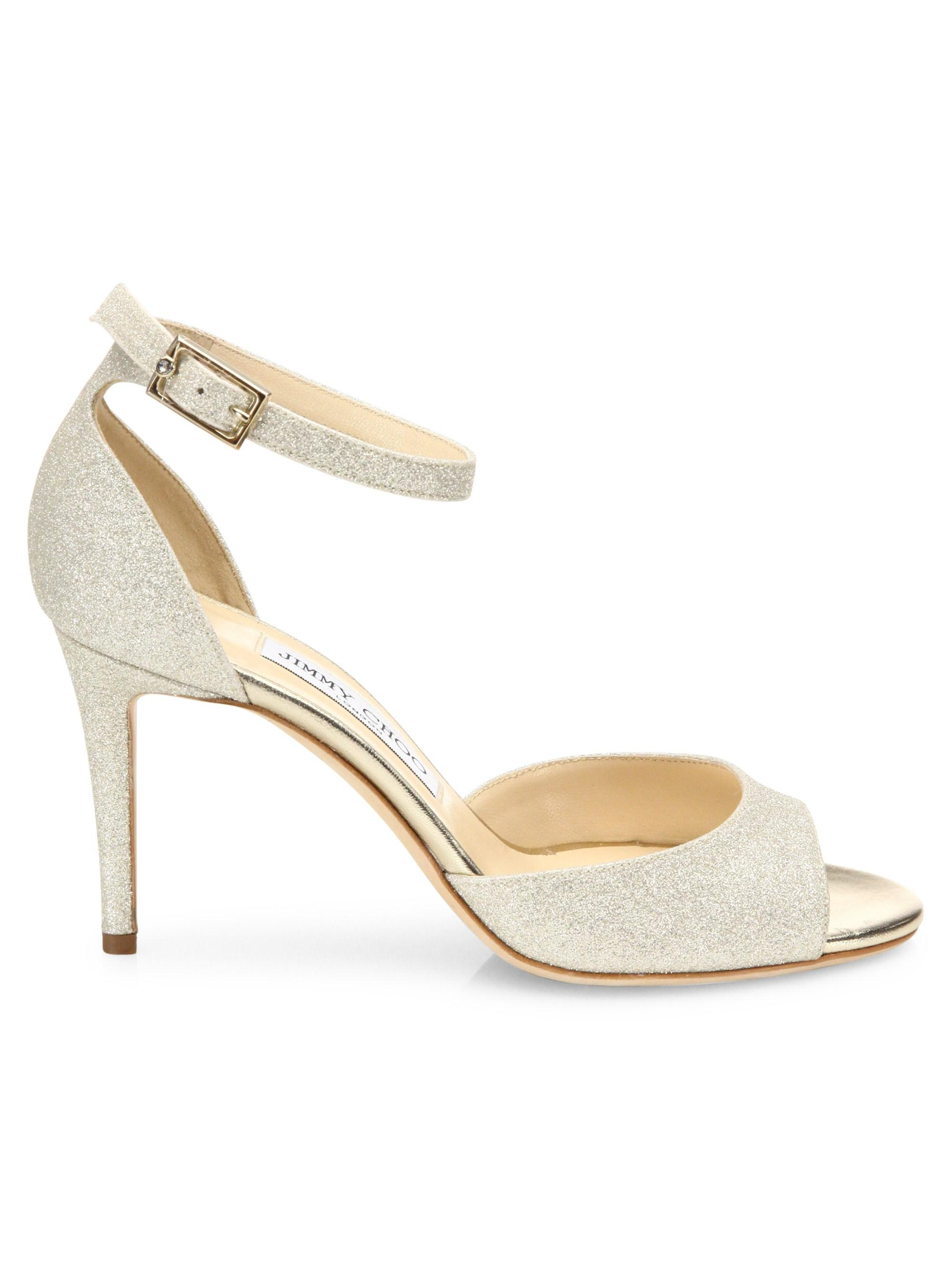 516dcc7f932 Lyst - Jimmy Choo Annie 85 Glitter D orsay Ankle-strap Sandals