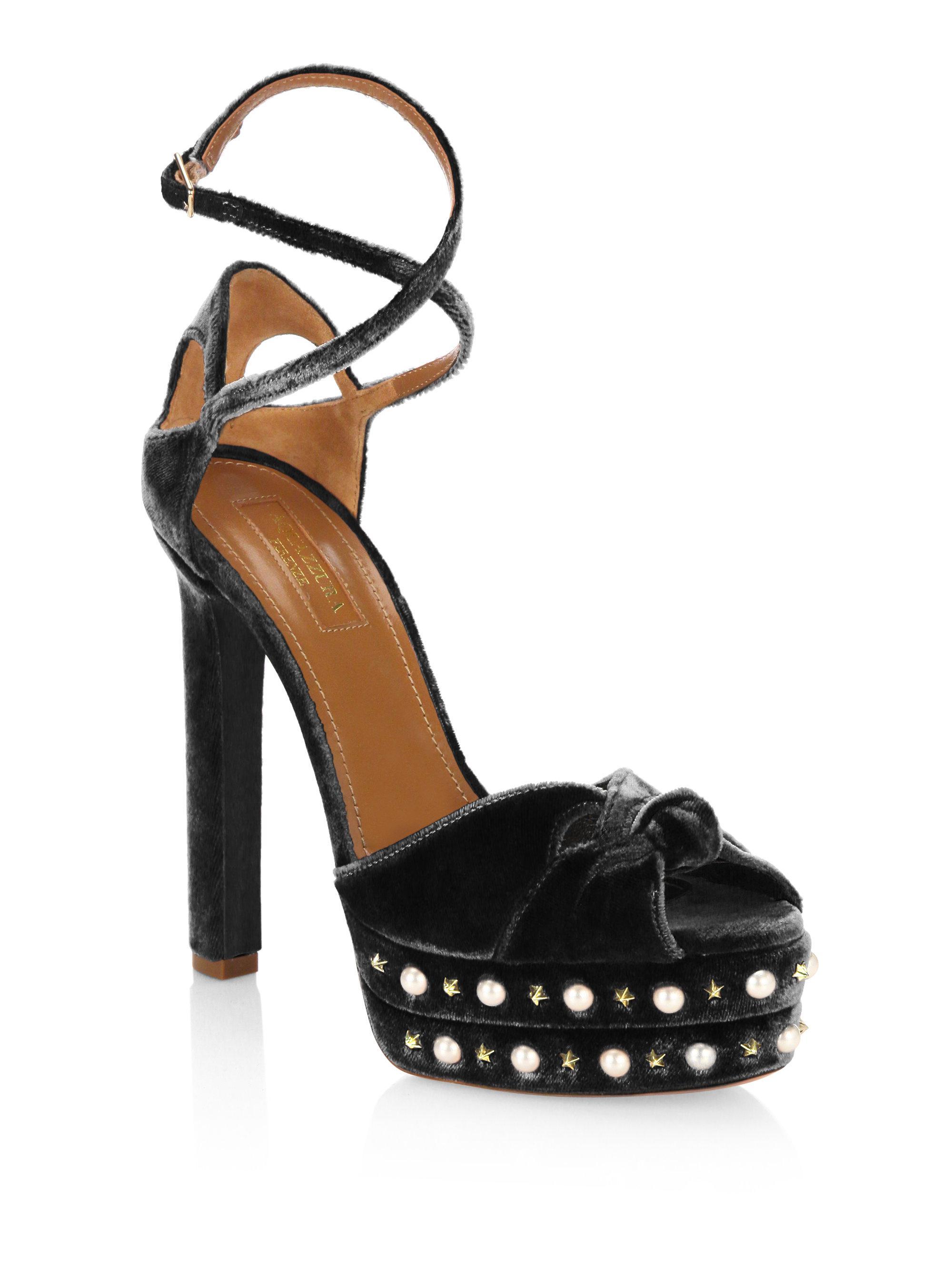 768b7bc073c Lyst - Aquazzura Harlow Velvet Pearls Platform Sandals in Black