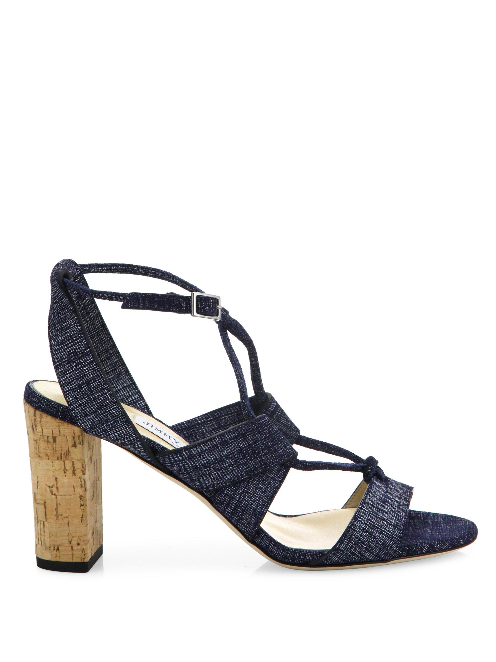 ddc5c539e1a Lyst - Jimmy Choo Margo Cork-heel Denim Lace-up Sandals in Blue